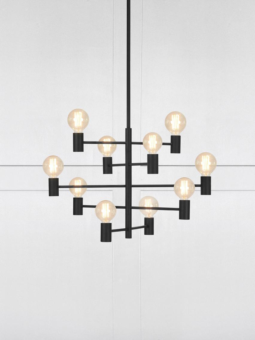 Grande suspension orientable Paris, Luminaire : noir. Câble : transparent