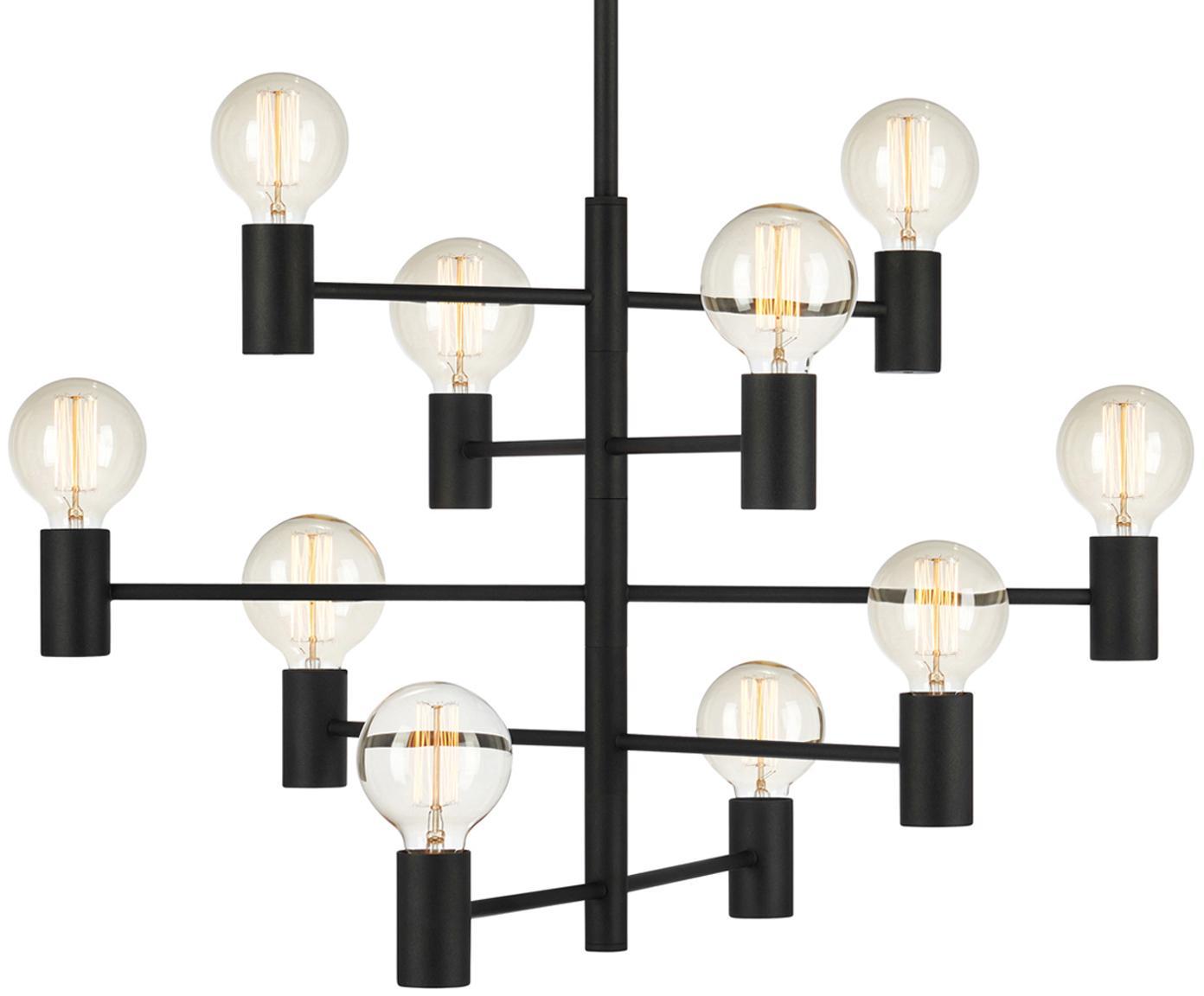 Hanglamp Paris, verstelbaar, Gelakt messing, Lamp: zwart. Snoer: transparant, Ø 80 x H 49 cm