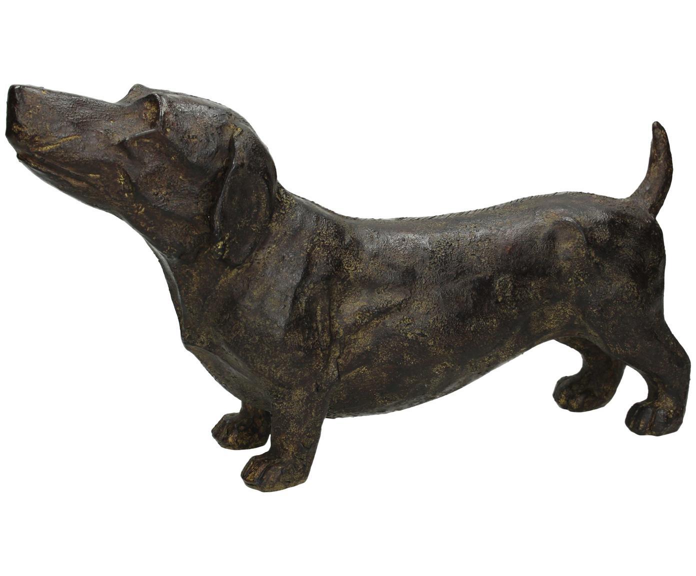 Decoratief object Dackel, Polyresin, Bruin, 31 x 17 cm