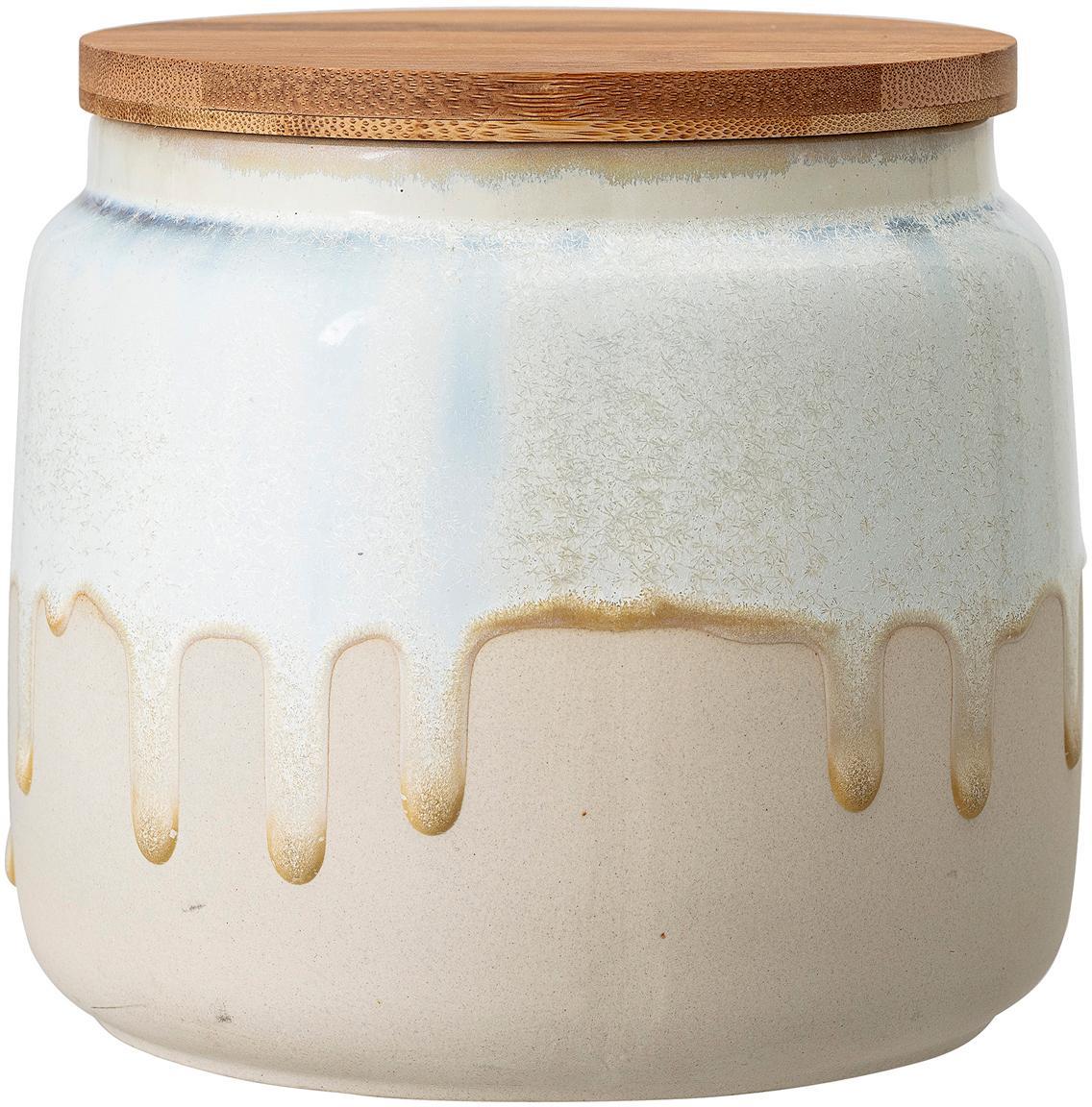 Ręcznie wykonany pojemnik do przechowywania Terrain, Złamana biel, beżowy, drewno bambusowe, Ø 16 x W 14 cm