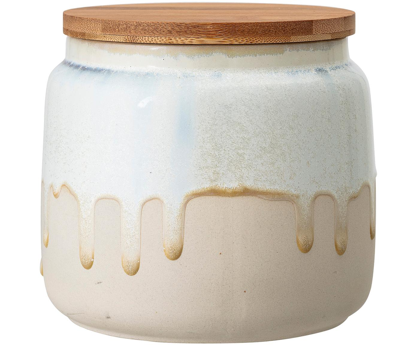 Handgemaakte opbergpot Terrain, Deksel: bamboehout, Gebroken wit, beige, bamboehout, Ø 16 x H 14 cm