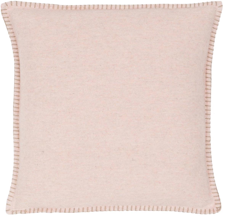 Funda de cojín de tela polar Sylt, 85%algodón, 8%viscosa, 7%poliacrílico, Rosa palo, crema, An 40 x L 40 cm