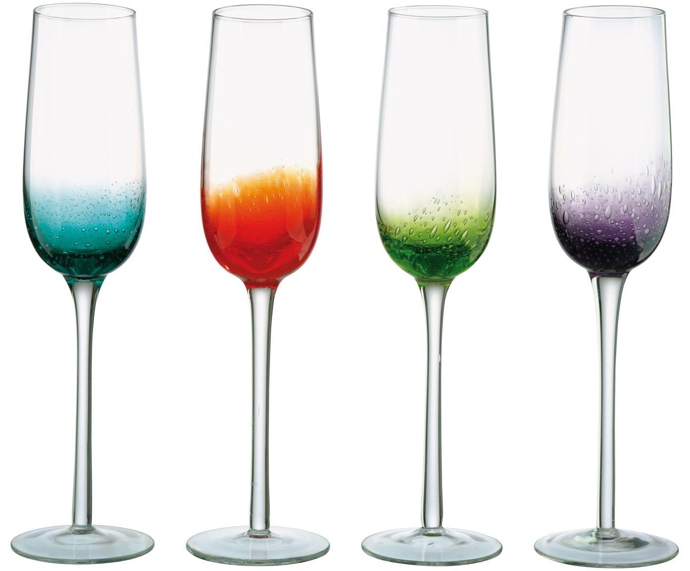 Copas flauta de champán de vidrio soplado Fizz, 4uds., Vidrio soplado artesanalmente, Transparente, multicolor, 250 ml