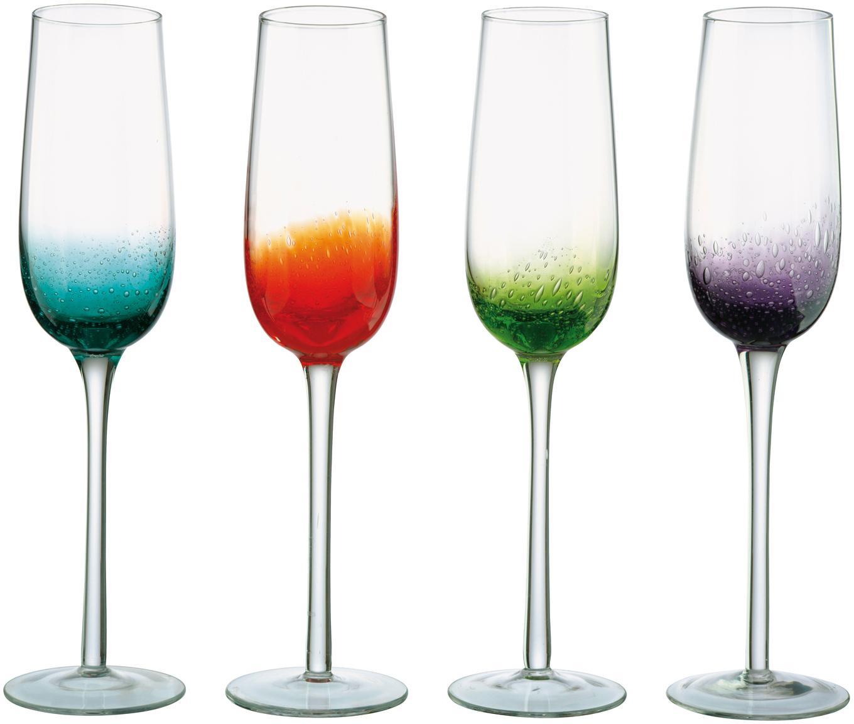 Set di 4 flute da champagne Fizz, Vetro soffiato, Trasparente, multicolore, 250 ml