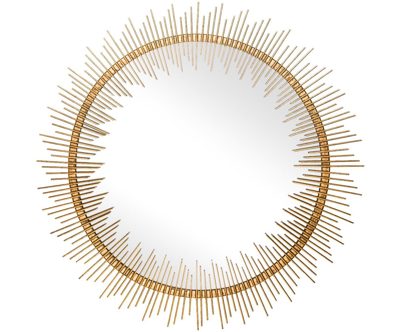 Wandspiegel Cleo, Rahmen: Metall mit ungleichmäßige, Spiegelfläche: Spiegelglas, Goldfarben, Ø 76 cm