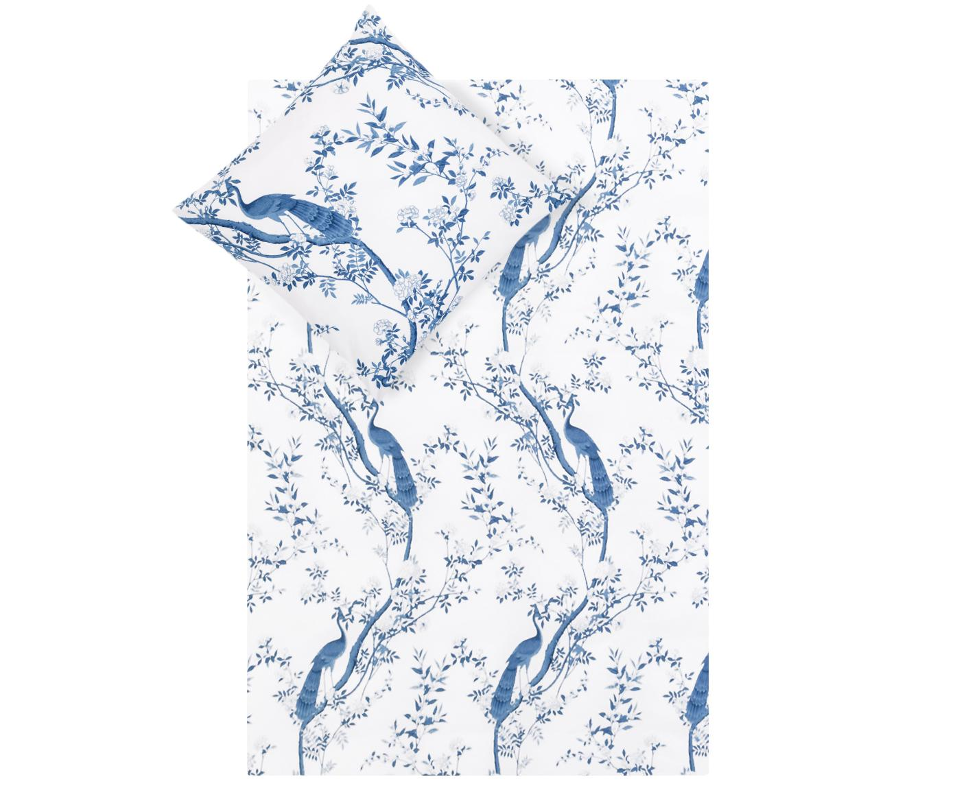Pościel z perkalu Annabelle, Niebieski, biały, 135 x 200 cm