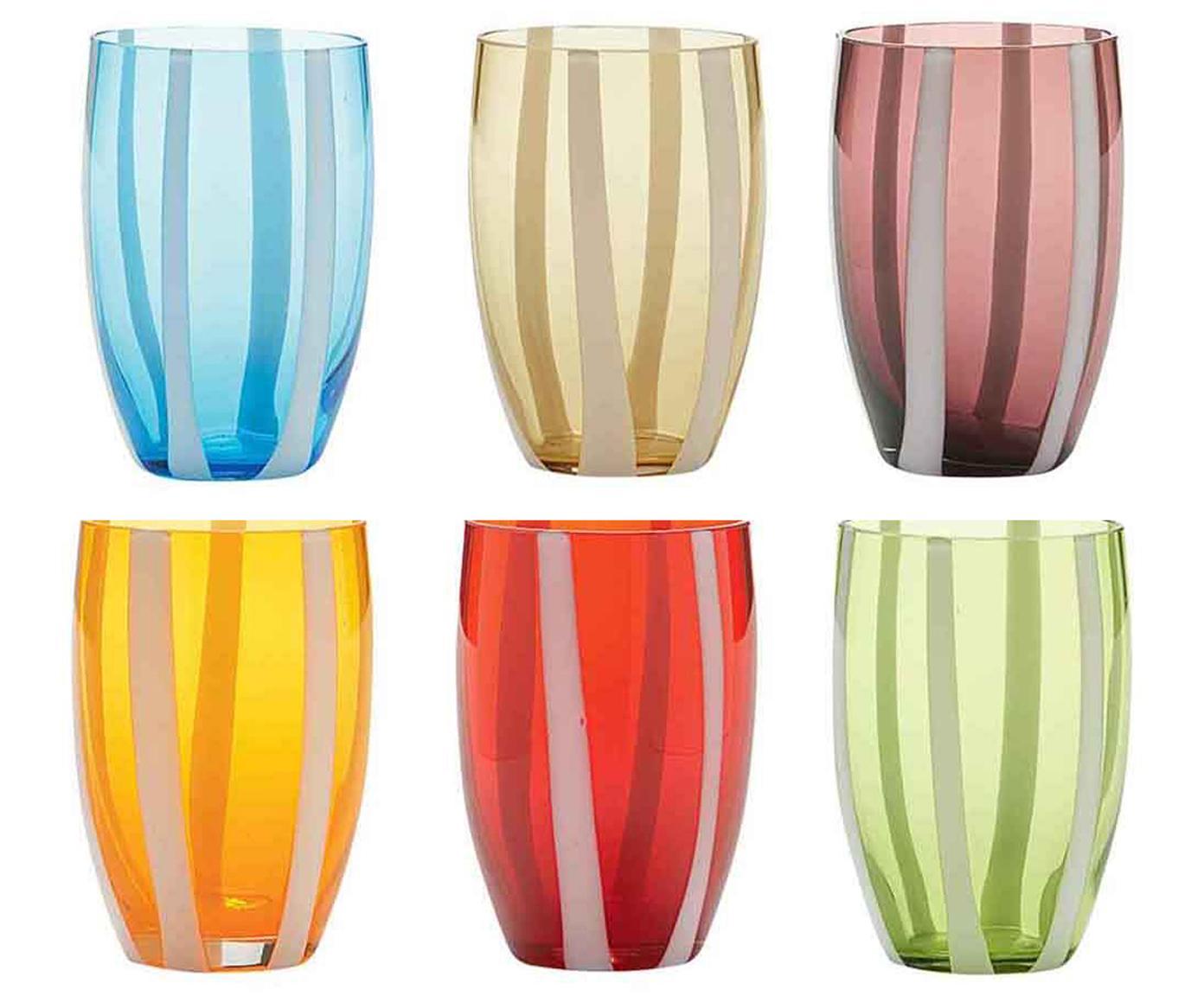 Komplet szklanek do wody ze szkła dmuchanego Gessato, 6 elem., Szkło, Biały, morski, odcienie bursztynowego, pastelowy fiolet, pomarańczowy, czerwony,, Ø 7 x W 11 cm