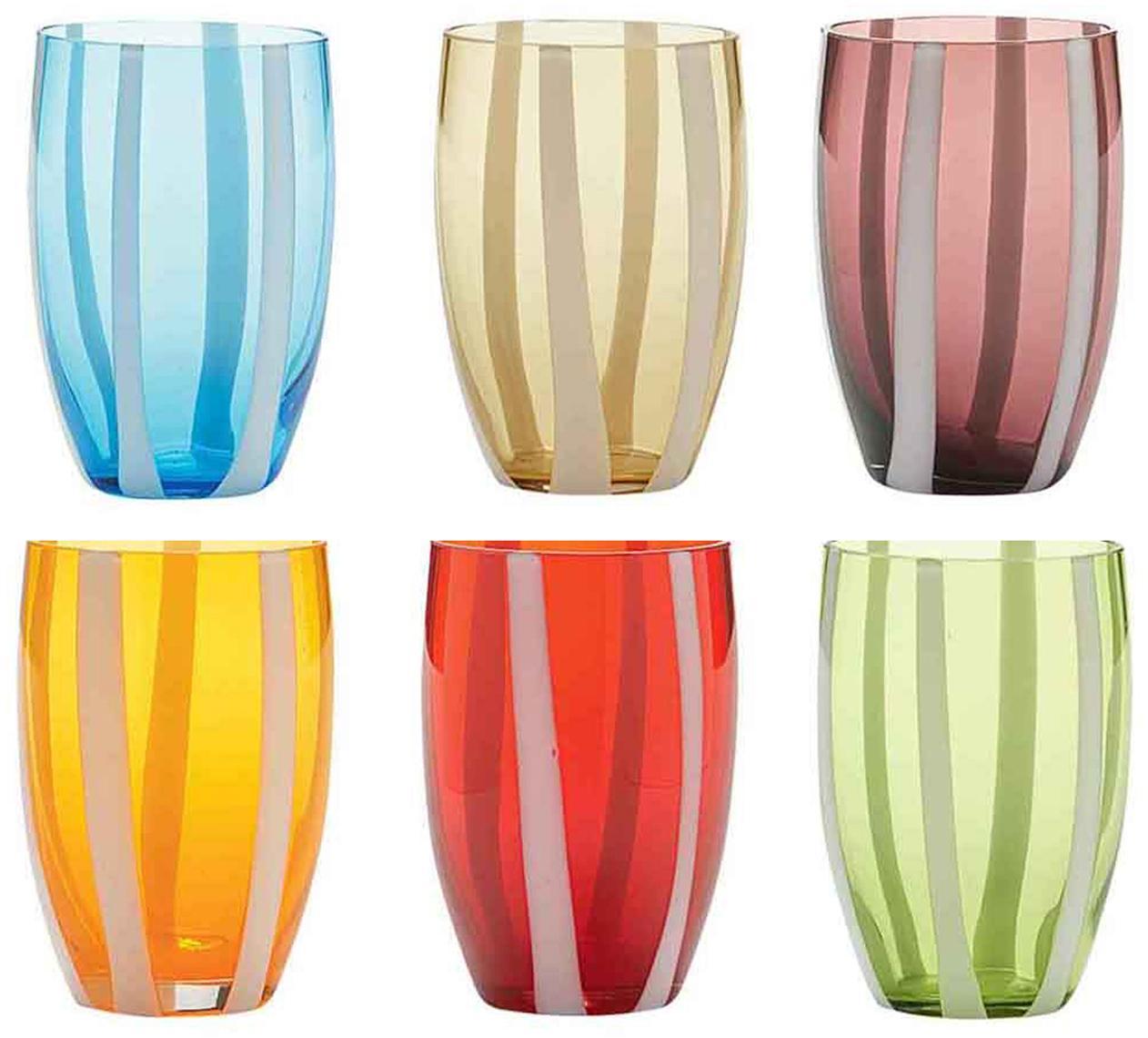 Mundgeblasene Wassergläser Gessato in Bunt, 6er-Set, Glas, Weiß, Aqua, Bernsteinfarben, Pastellviolett, Orange, Rot, Grün, Ø 7 x H 11 cm