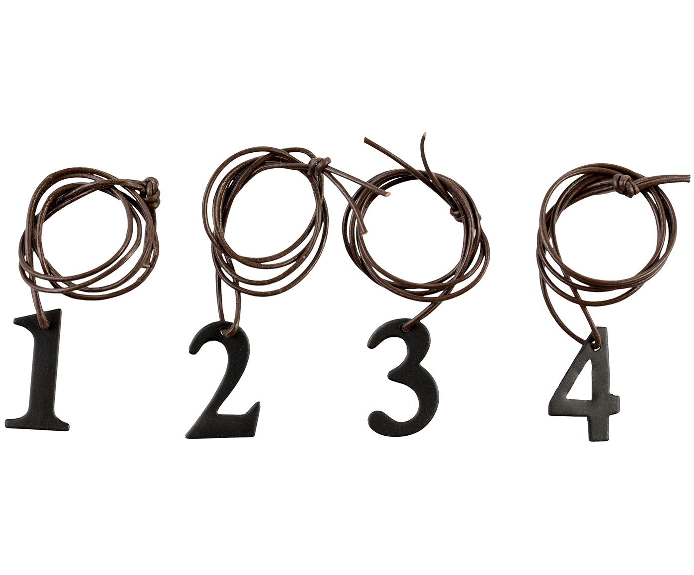Set 4 ciondoli decorativi Dana Advent Number, Nero, marrone, Larg. 2 x Alt. 3 cm
