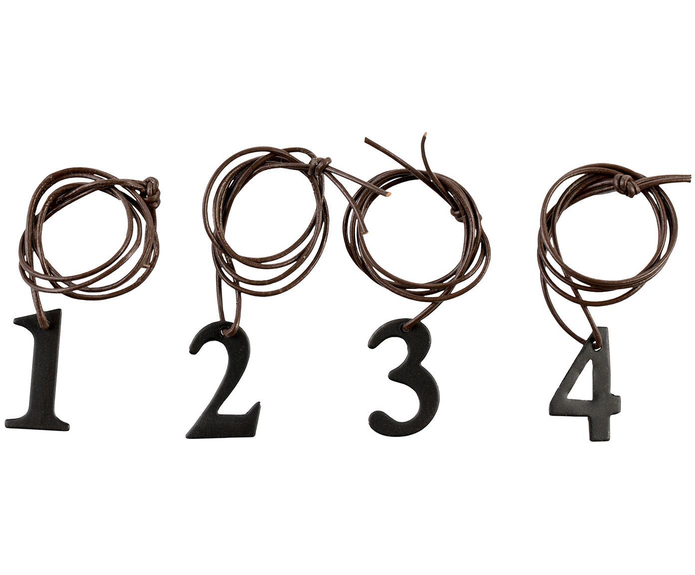 Set de colgantes decorativos Dana Advent Number, 4pzas., Cordón: cuero, Negro, marrón, An 2 x Al 3 cm