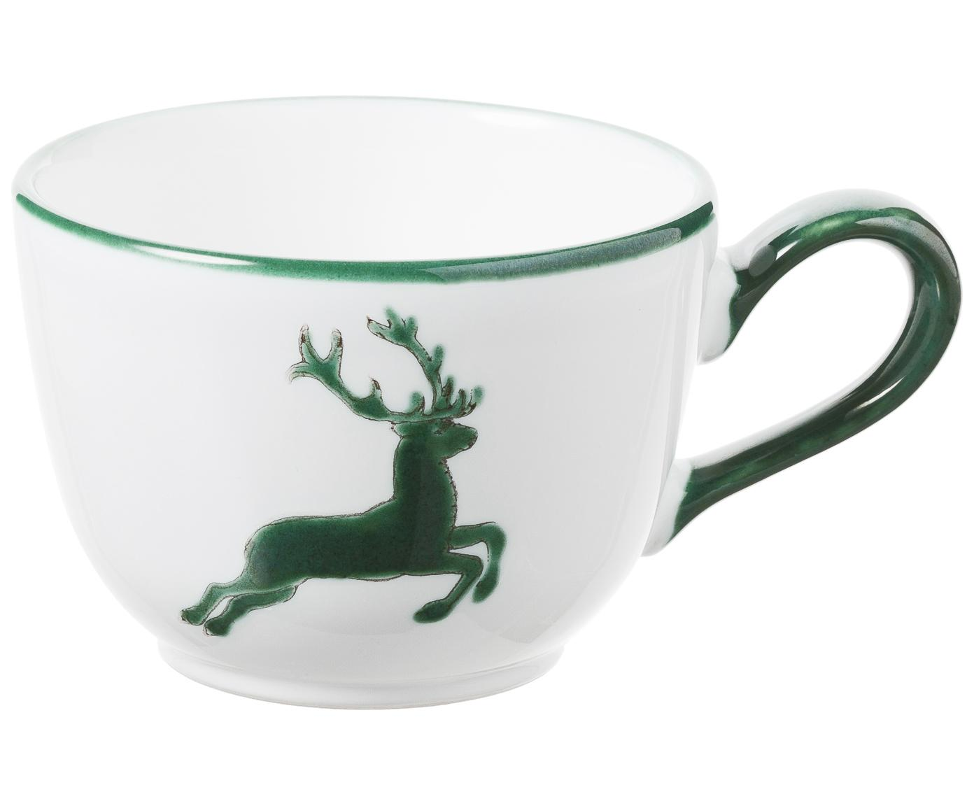 Ręcznie malowany filiżanka Classic Grüner Hirsch, Ceramika, Zielony, biały, 190 ml