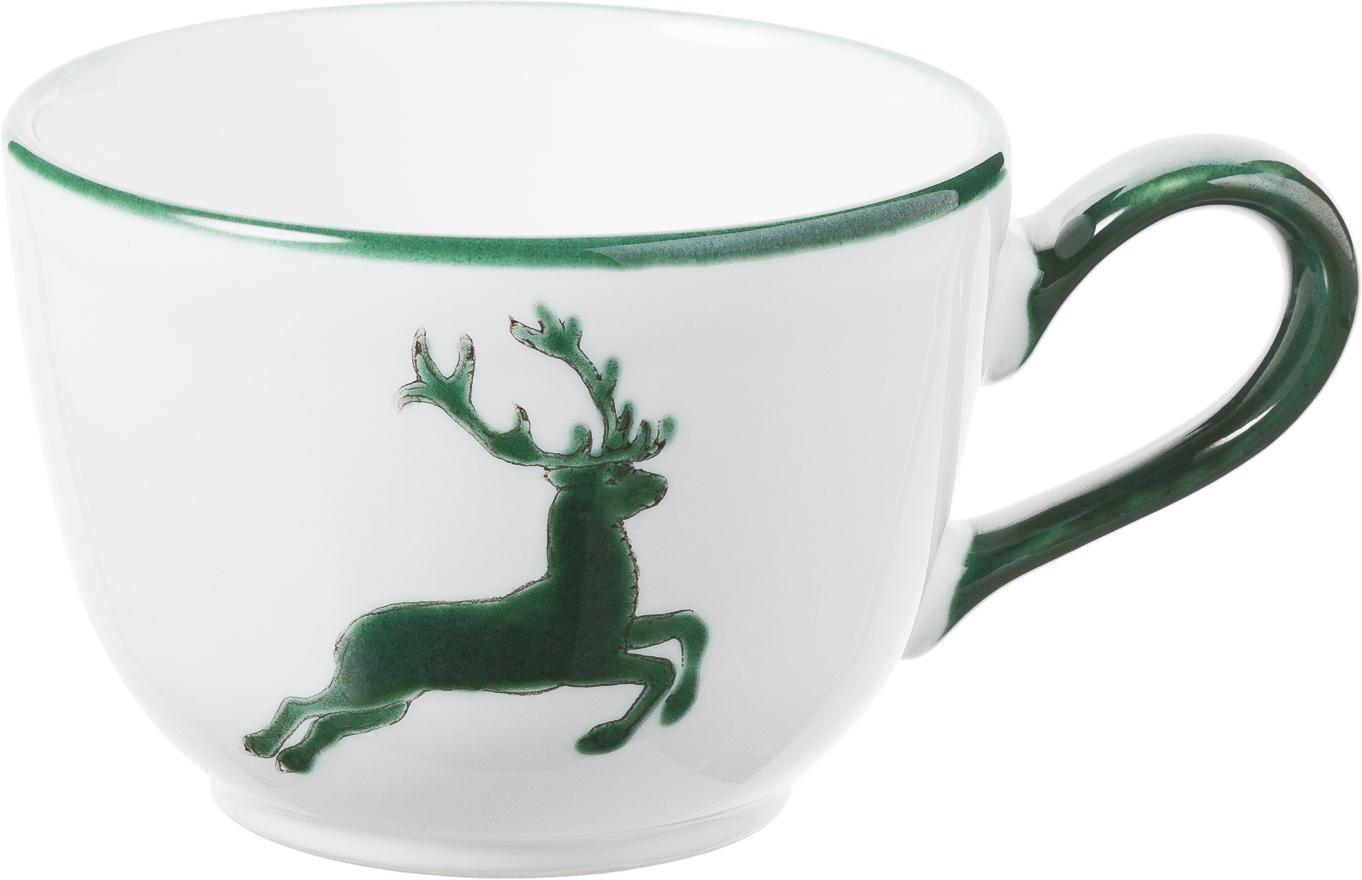 Handbemalte Kaffeetasse Classic Grüner Hirsch, Keramik, Grün,Weiß, 190 ml