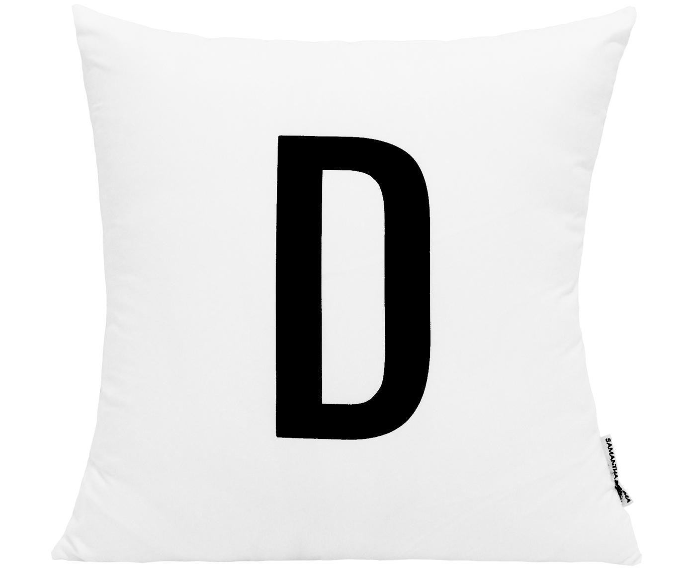 Funda de cojín Alphabet (variantes de A a Z), 100%poliéster, Negro, blanco, Variante D