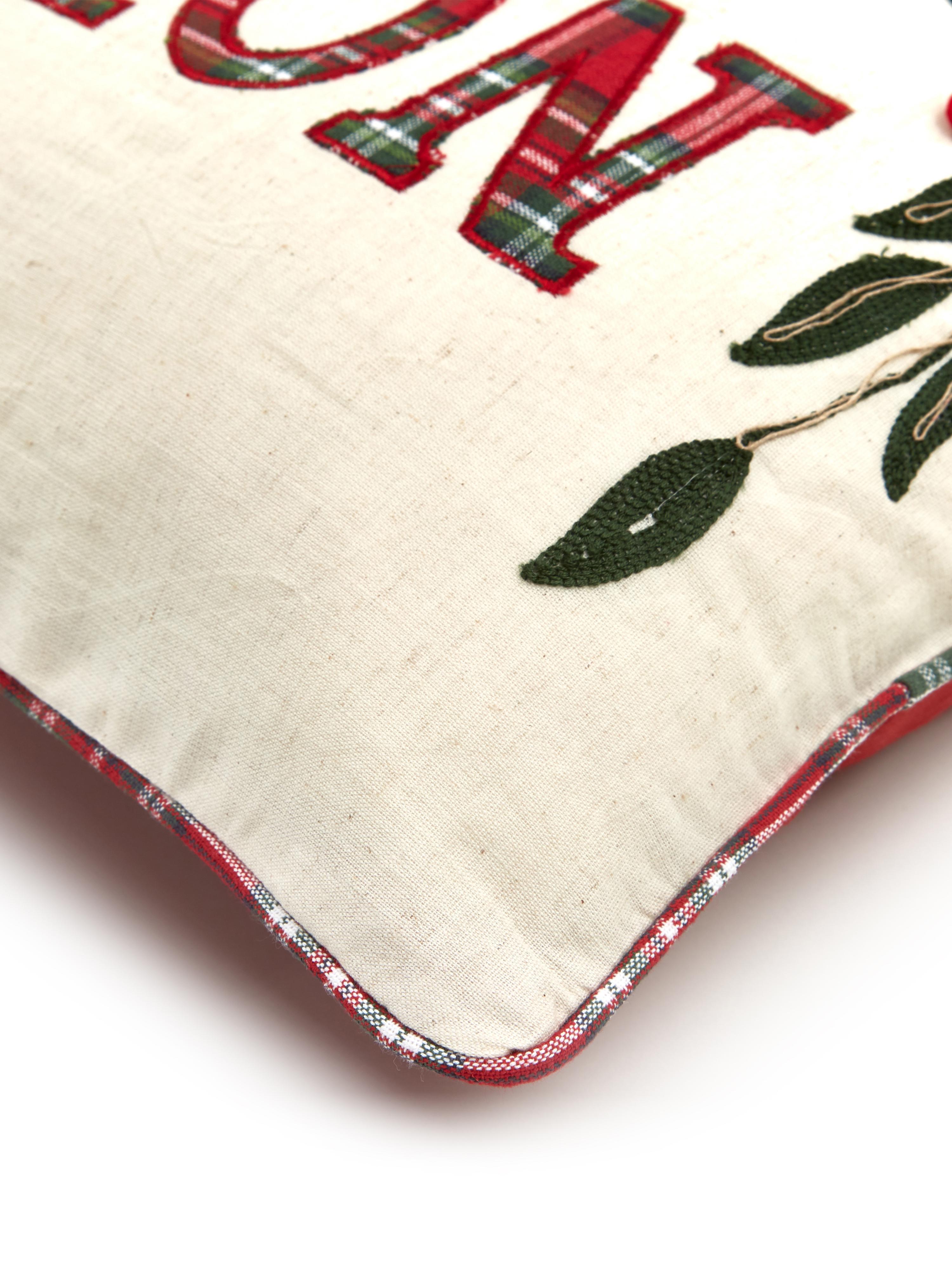 Bestickte Wendekissenhülle Kissenhülle Noel mit Schriftzug, Baumwolle, Vorderseite: Creme, Rot, Grün Rückseite: Rot, 45 x 45 cm
