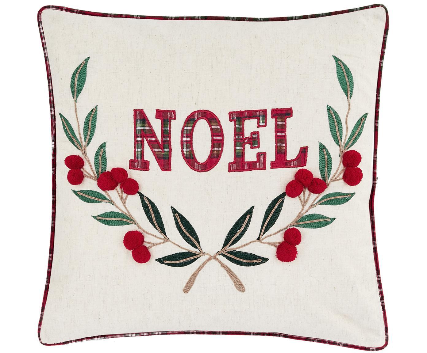 Federa arredo con scritta Noel, Cotone, Fronte: crema, rosso, verde retro: rosso, Larg. 45 x Lung. 45 cm