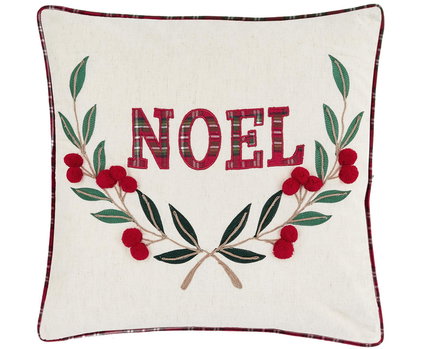 Funda de cojín Noel, 100%algodón, Crema, rojo, verde, An 45 x L 45 cm
