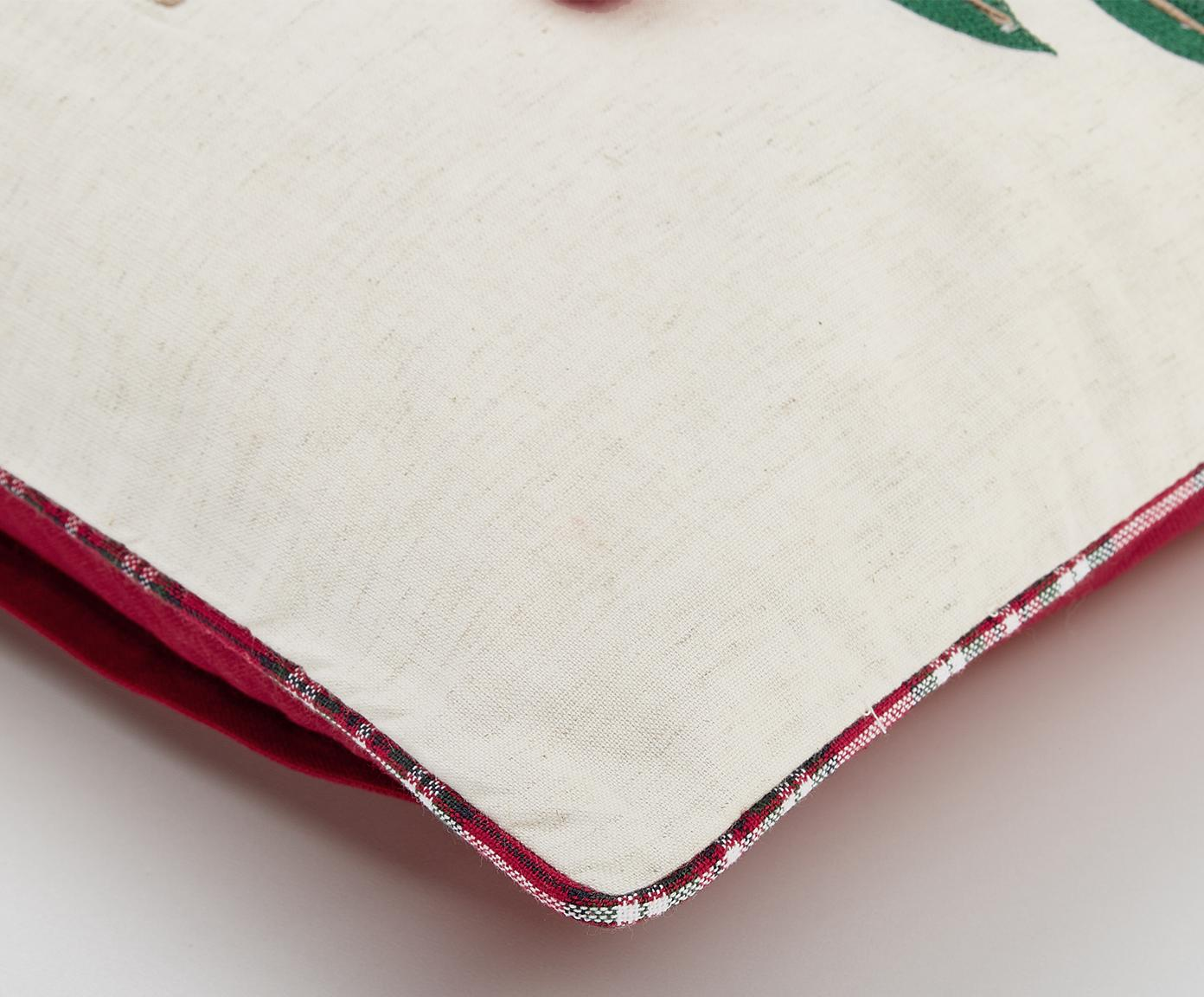 Weihnachtliche Kissenhülle Noel mit Schriftzug, Baumwolle, Vorderseite: Creme, Rot, Grün Rückseite: Rot, 45 x 45 cm