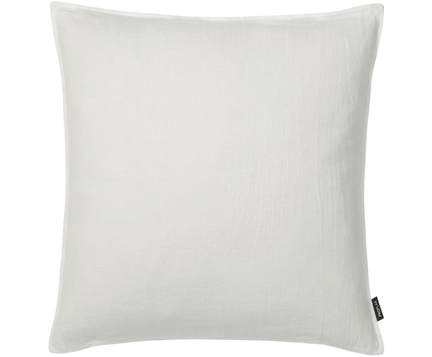 Gewaschene Leinen-Kissenhülle Sven in Offwhite, 100% Leinen, Gebrochenes Weiß, 40 x 40 cm