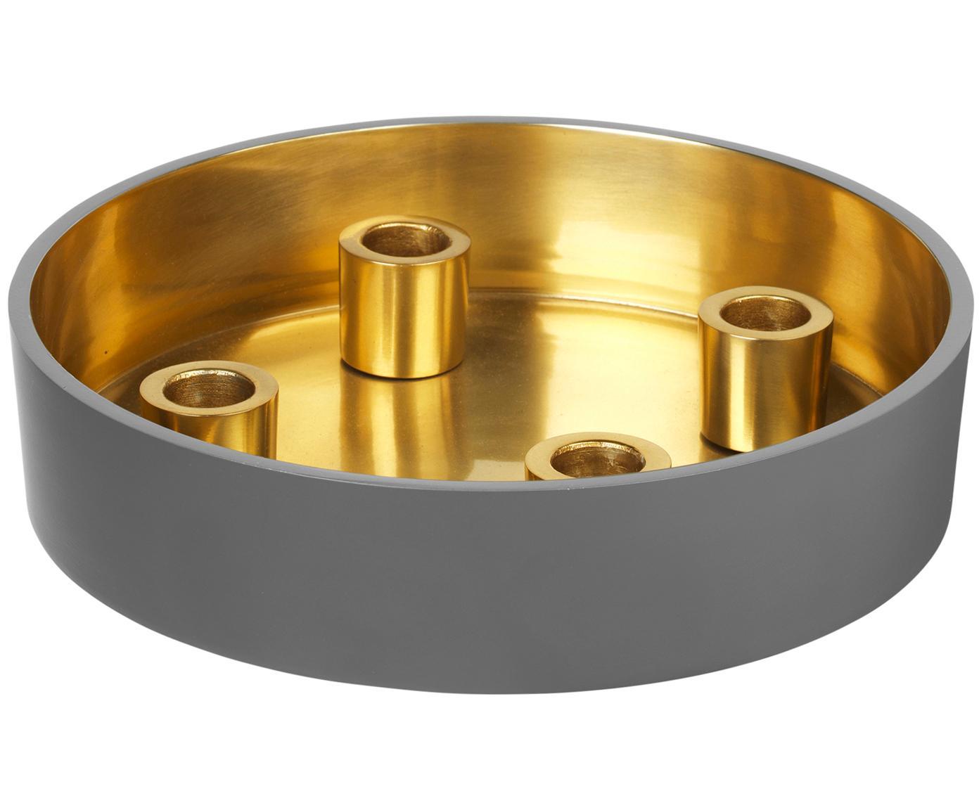 Kaarsenhouder Palma, Geëmailleerd aluminium, Buitenzijde: grijsblauw. Binnenzijde: goudkleurig, Ø 23 x H 6 cm