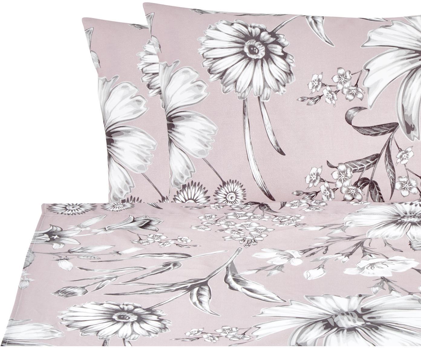 Set lenzuola in cotone Field 2 pz, Cotone, Rosa cipria, grigio, bianco, 240 x 270 cm