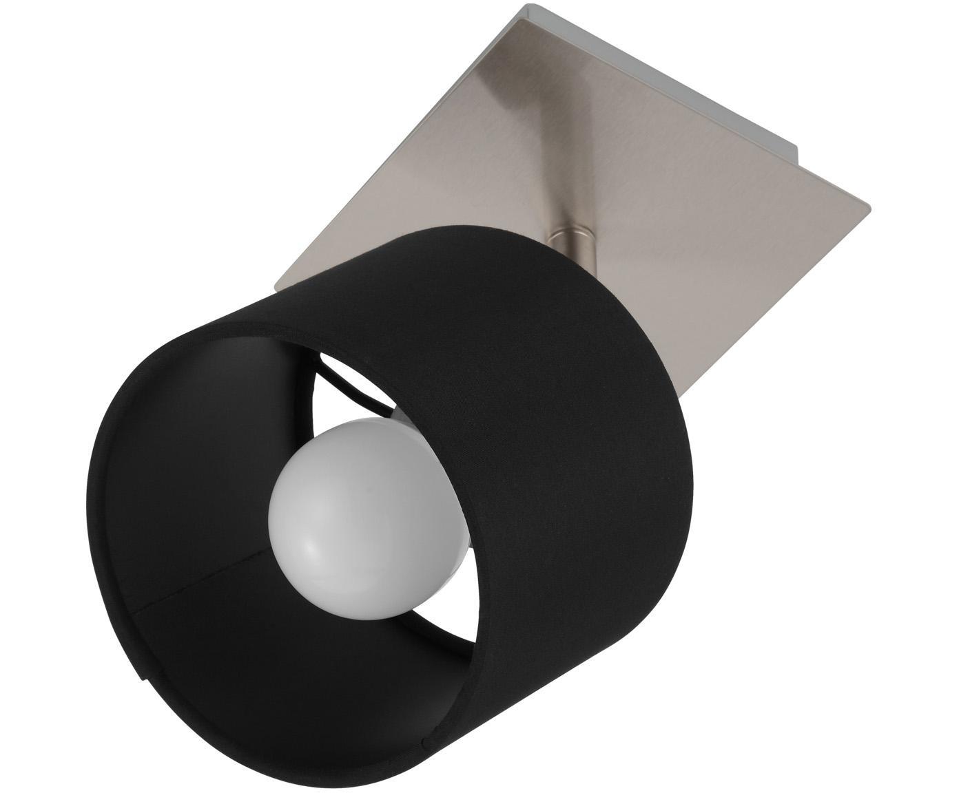 Plafondlamp Casper, Baldakijn: vernikkeld metaal, Lampenkap: textiel, Zilverkleurig, zwart, 11 x 11 cm