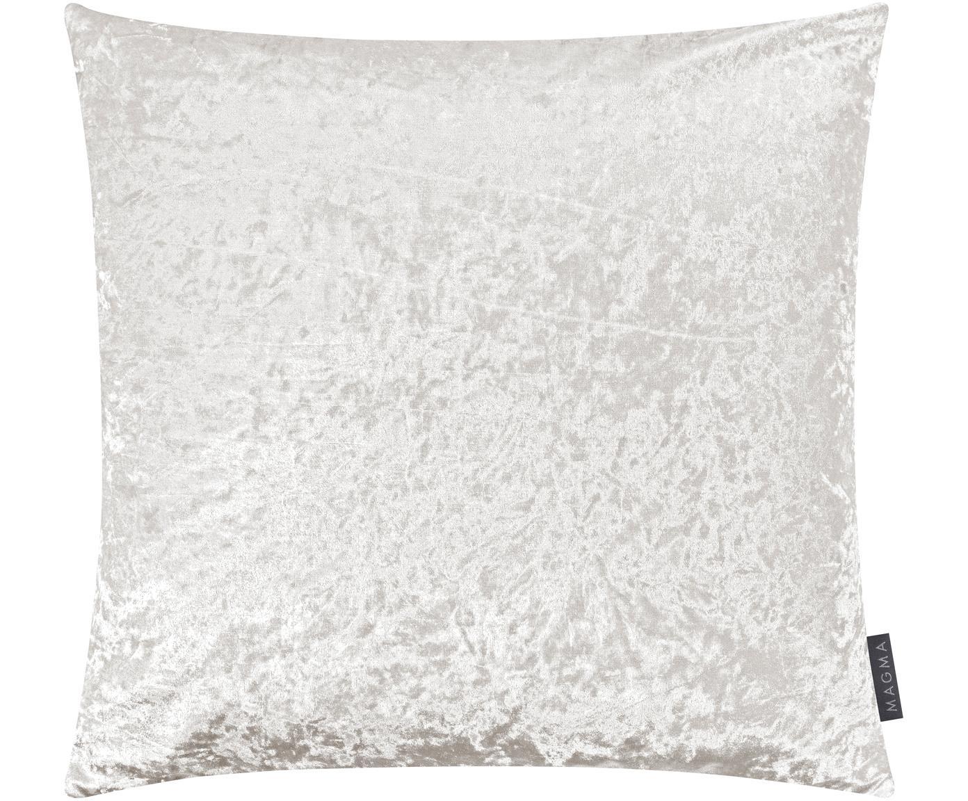 Samt-Kissenhülle Shanta mit schimmerndem Vintage-Muster, 100% Polyestersamt, Elfenbein, 50 x 50 cm