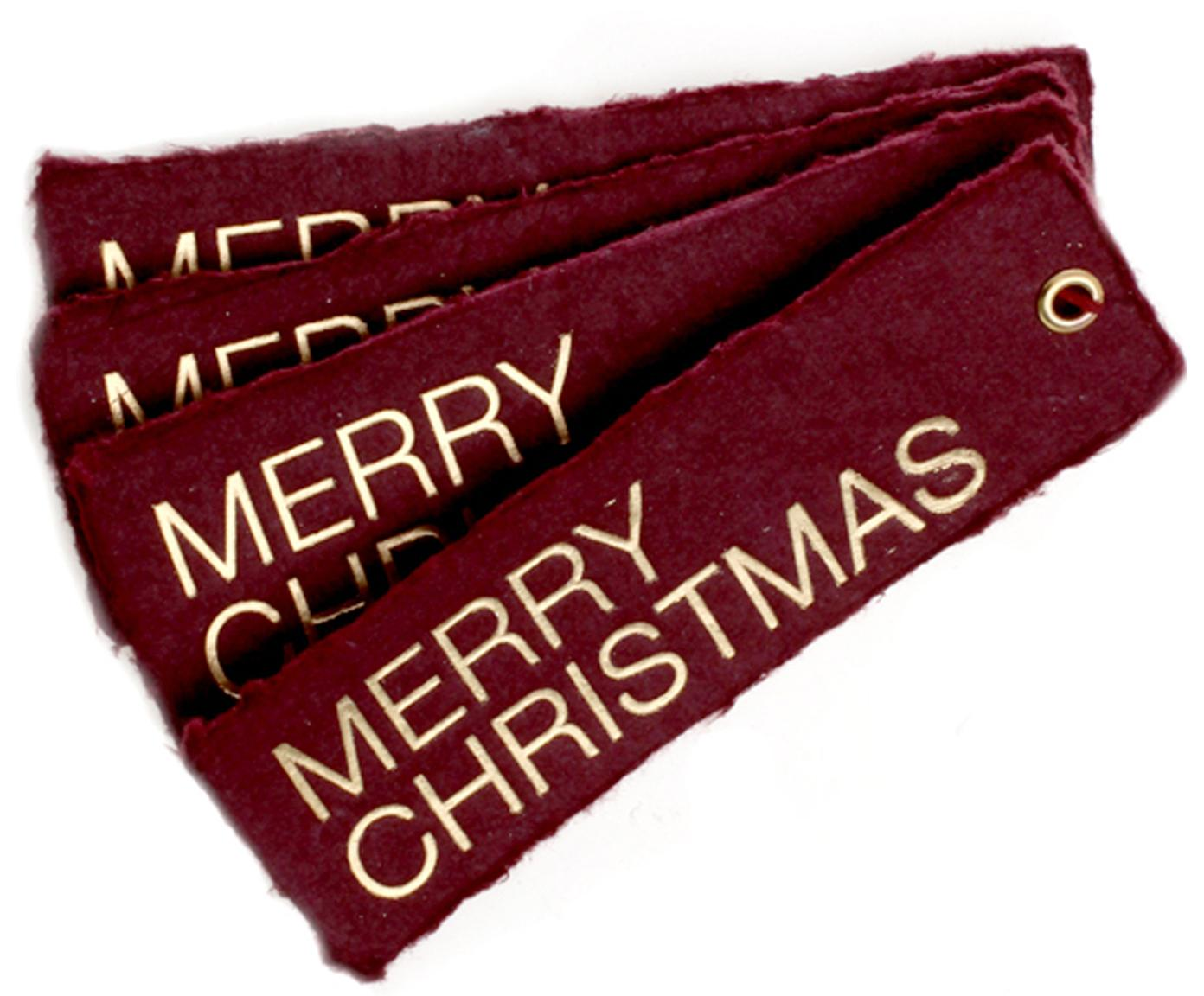 Geschenkanhänger Christmas, 4 Stück, Öse: Metall, beschichtet, Goldfarben, Weinrot, 4 x 12 cm
