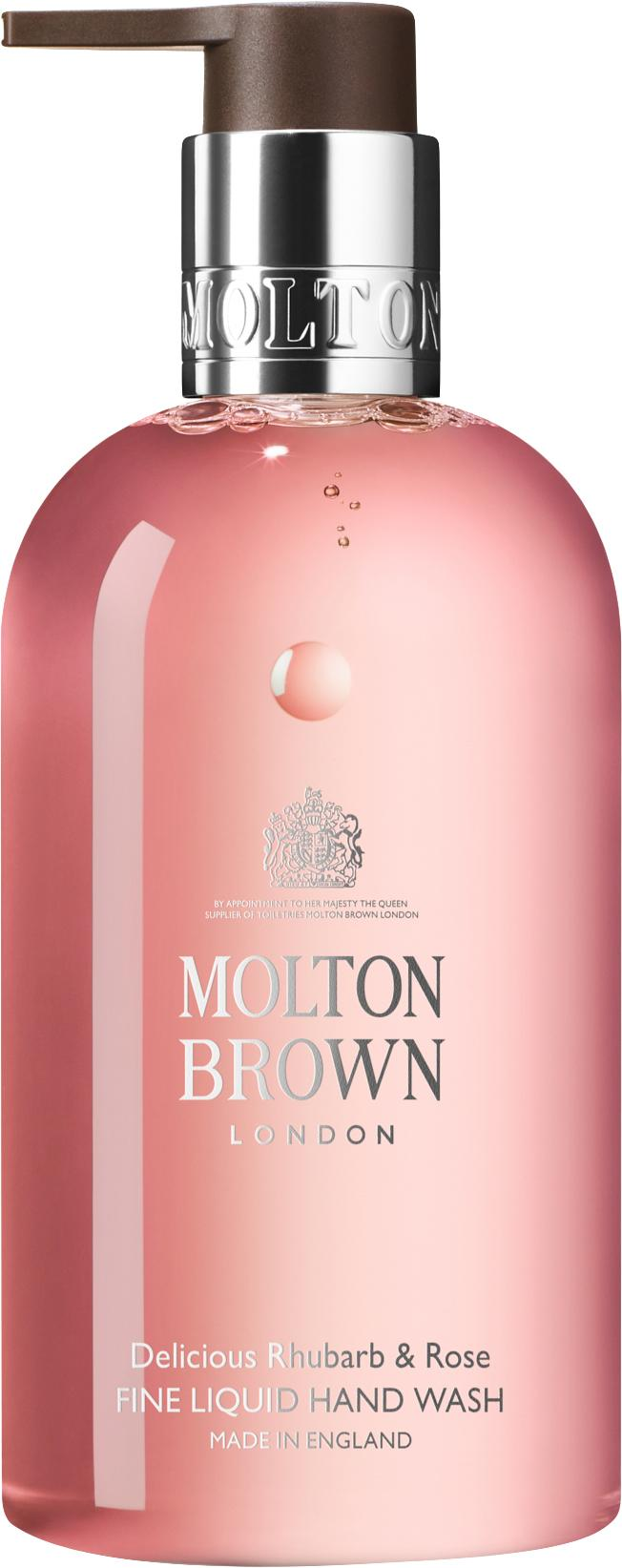 Vloeibare handzeep Molton (rabarber en rozen), Houder: recyclebare kunststof, Roze, Ø 6 x H 15 cm