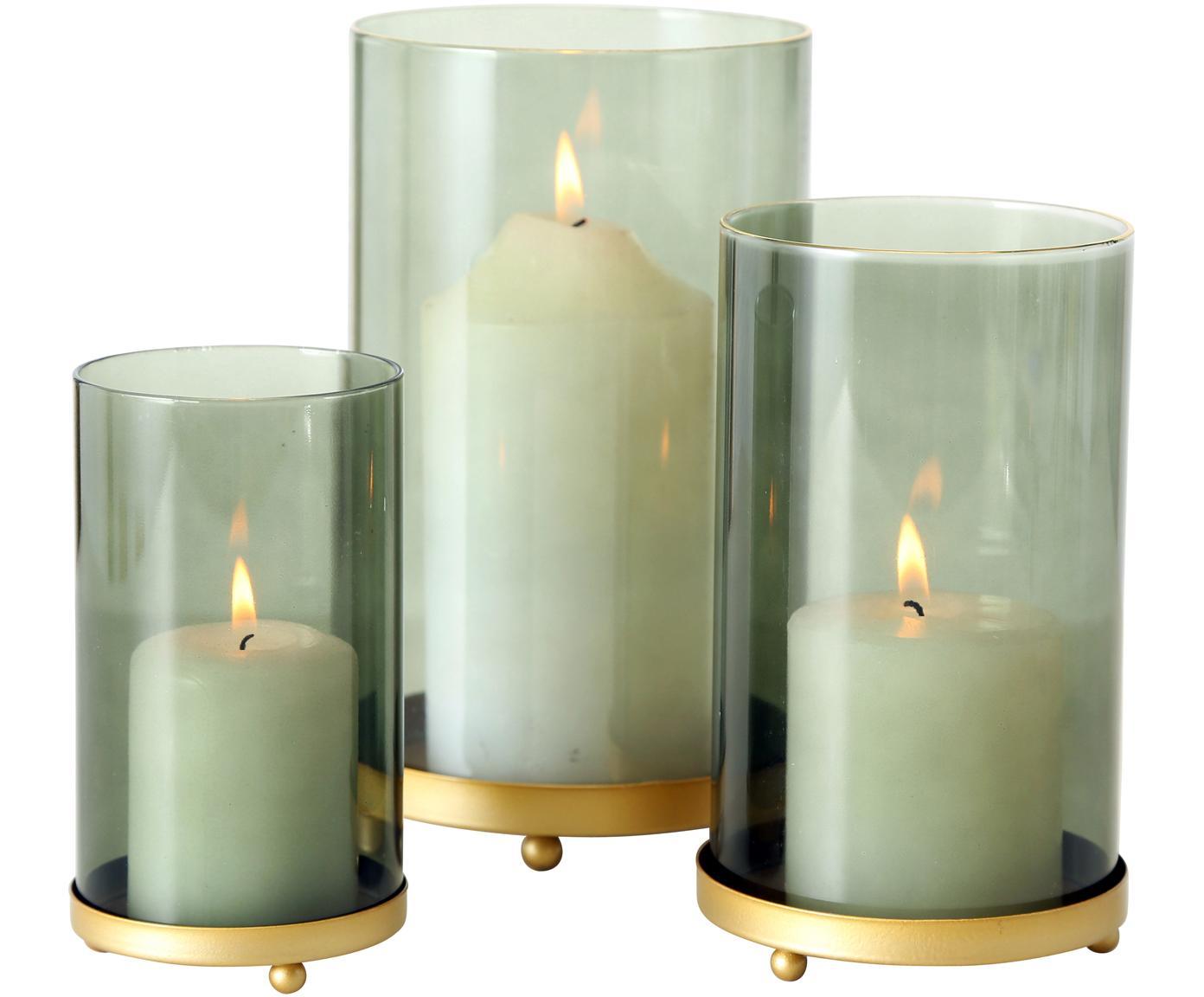 Komplet świeczników Knikki, 3 elem., Szkło, metal, Zielony, Różne rozmiary