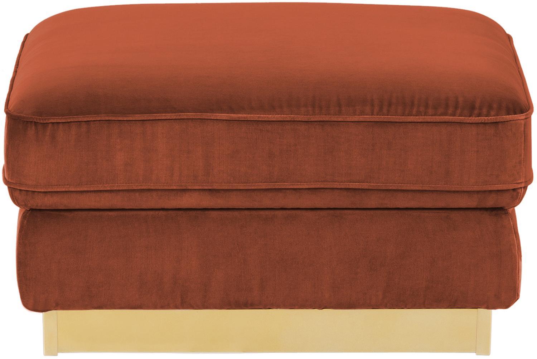 Fluwelen voetenbank Chelsea, Bekleding: fluweel (hoogwaardig poly, Frame: massief vurenhout, Frame: gecoat metaal, Roestrood, 80 x 44 cm