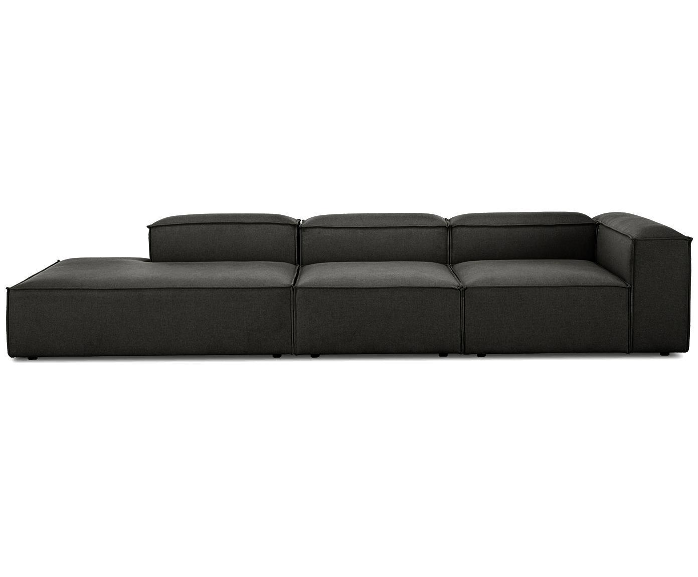 Modulaire XL chaise longue Lennon, Bekleding: polyester, Frame: massief grenenhout, multi, Poten: kunststof, Antraciet, B 357 x D 119 cm