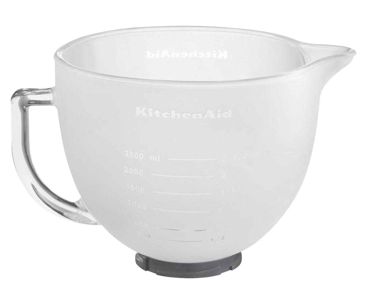 Ciotola in vetro per robot da cucina Artisan, Vetro smerigliato, copertura del silicone, Bianco, 4,8 litri