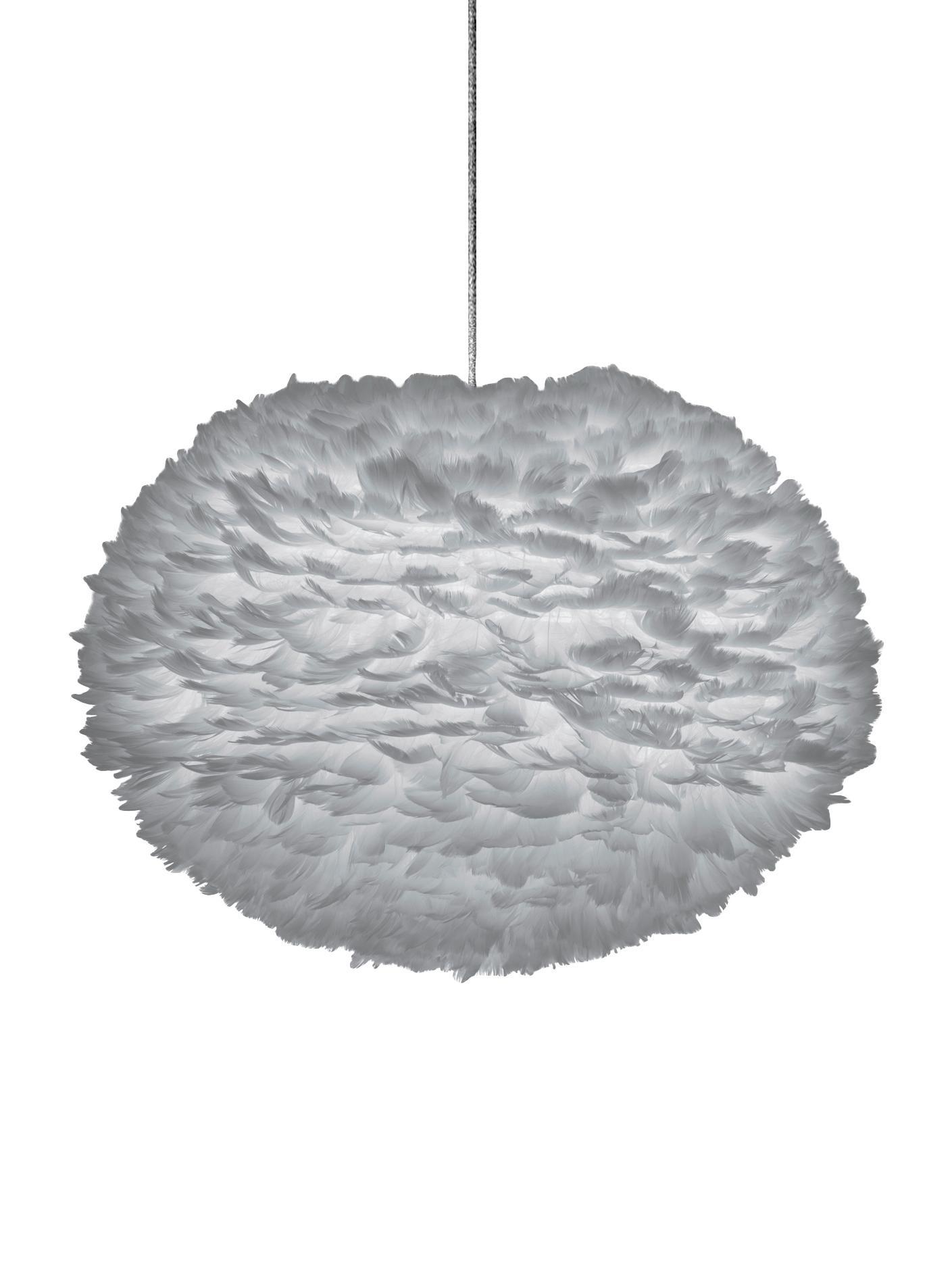 Lampa wisząca z piór Eos, Jasnoszary, Ø 65 x W 40 cm