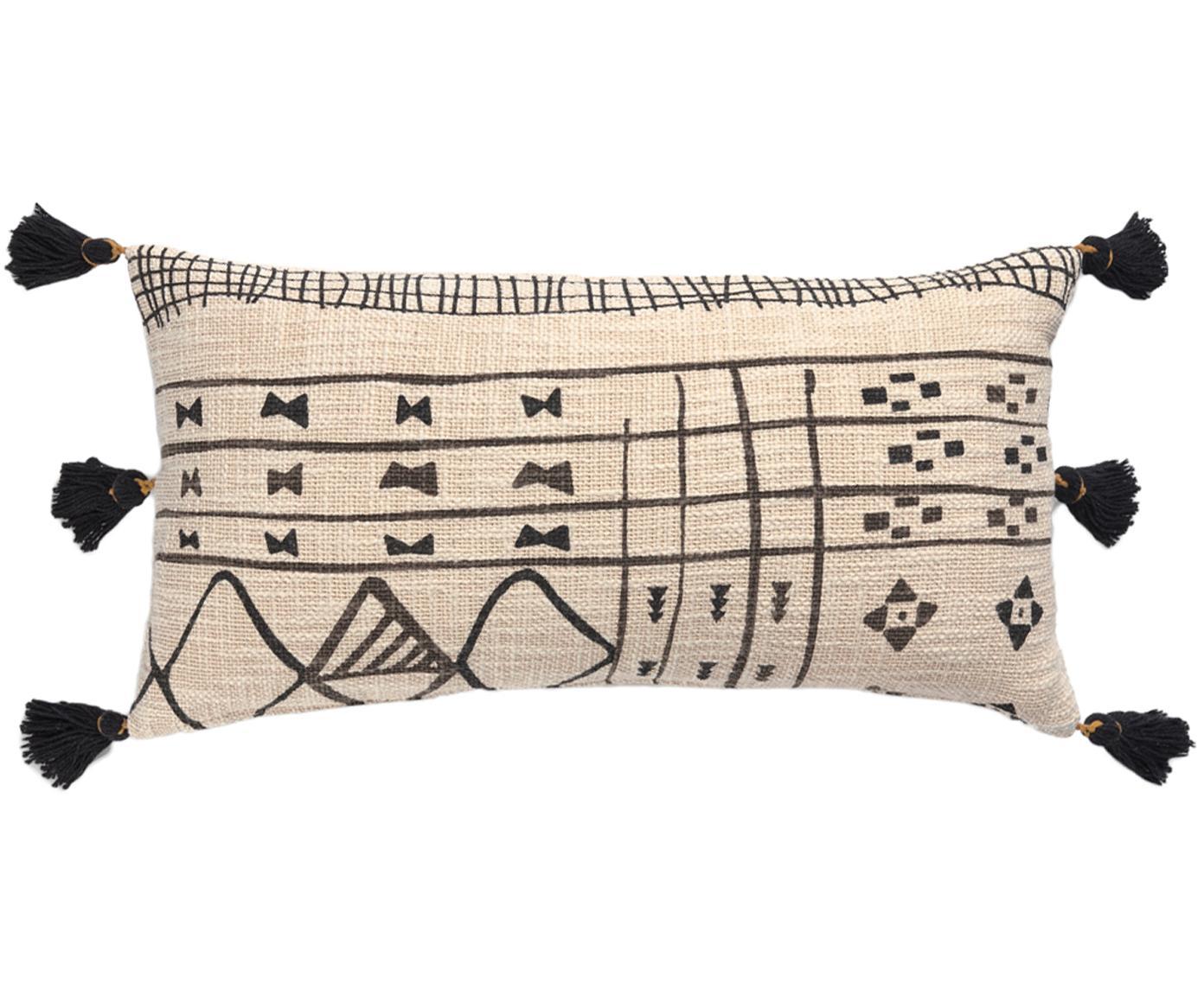 Kussenhoes met patroon Nilo met kwastjes, Katoen, Beige, zwart, 30 x 60 cm
