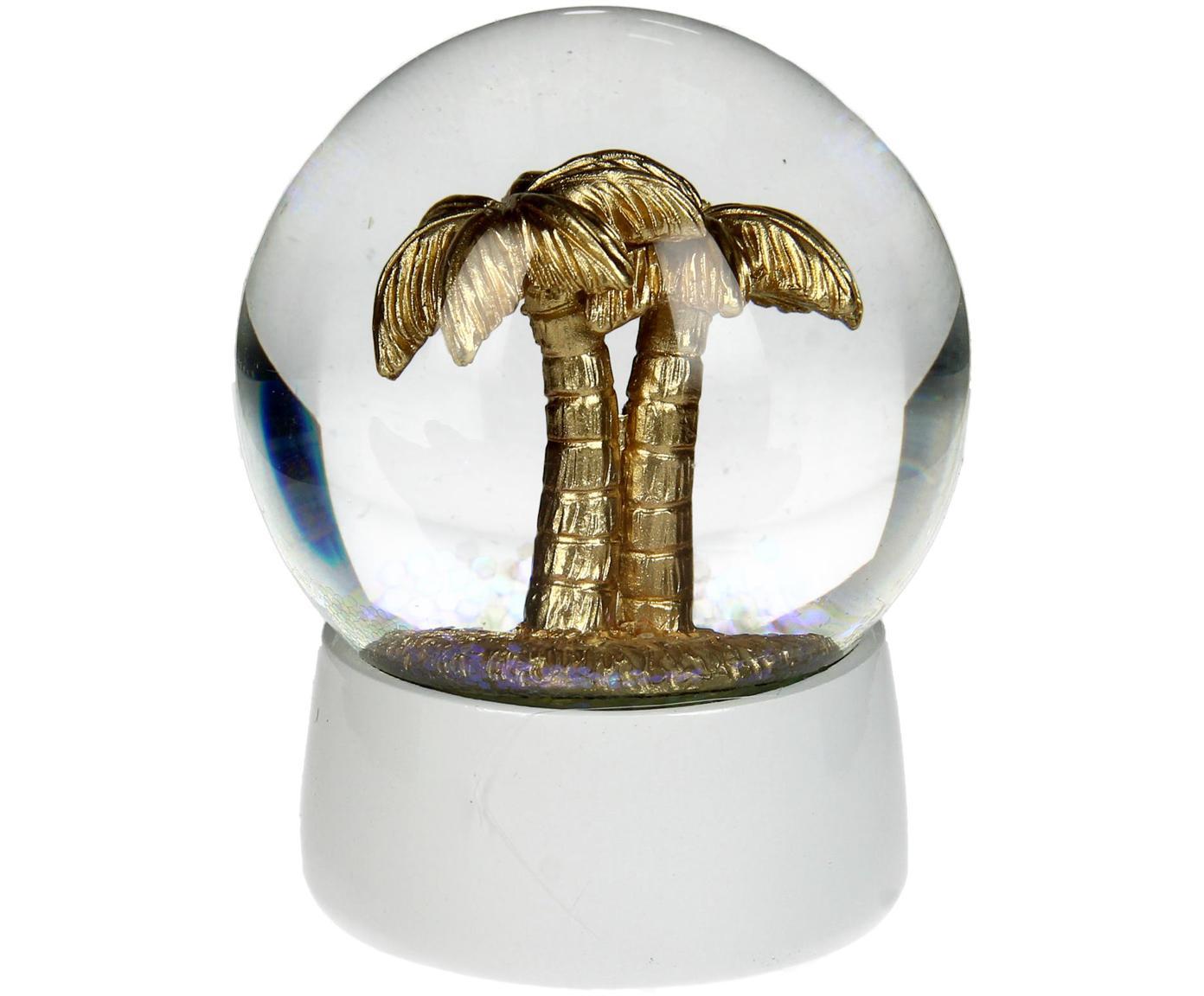 Bola decorativa Palm Tree, Blanco, dorado, Ø 7 x Al 8 cm