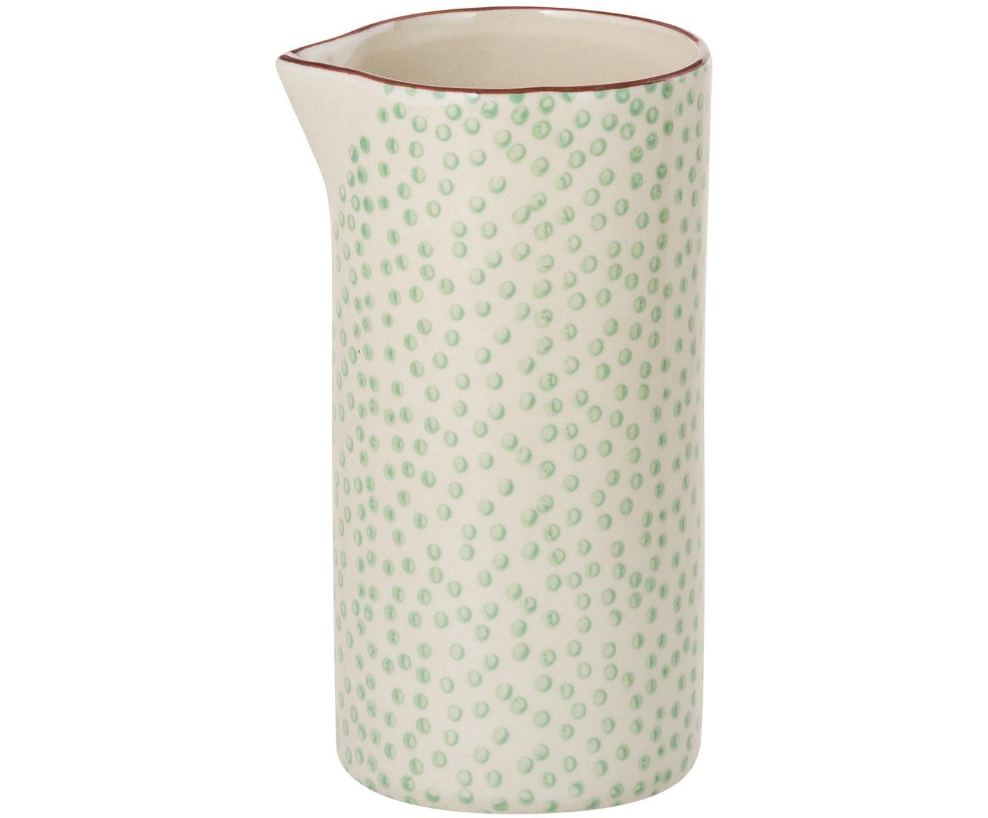 Milchkännchen Patrizia mit kleinem Muster, Steingut, Grün, Creme, Violett, Ø 6 x H 12 cm