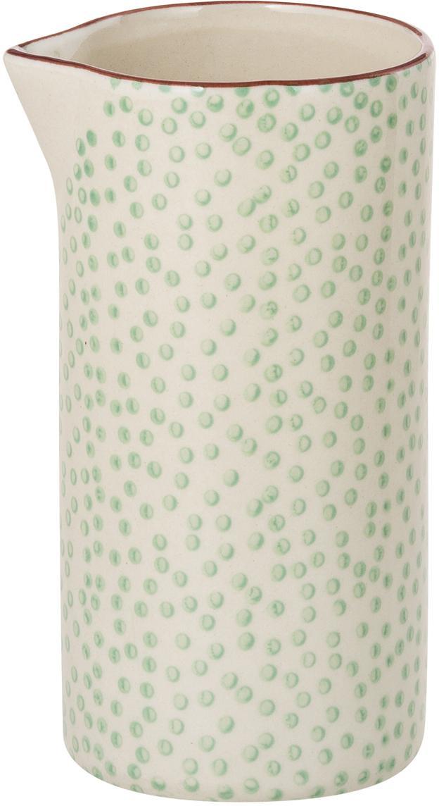 Ręcznie malowany dzbanek na mleko Patrizia, Kamionka, Zielony, kremowy, fioletowy, Ø 6 x 12 cm