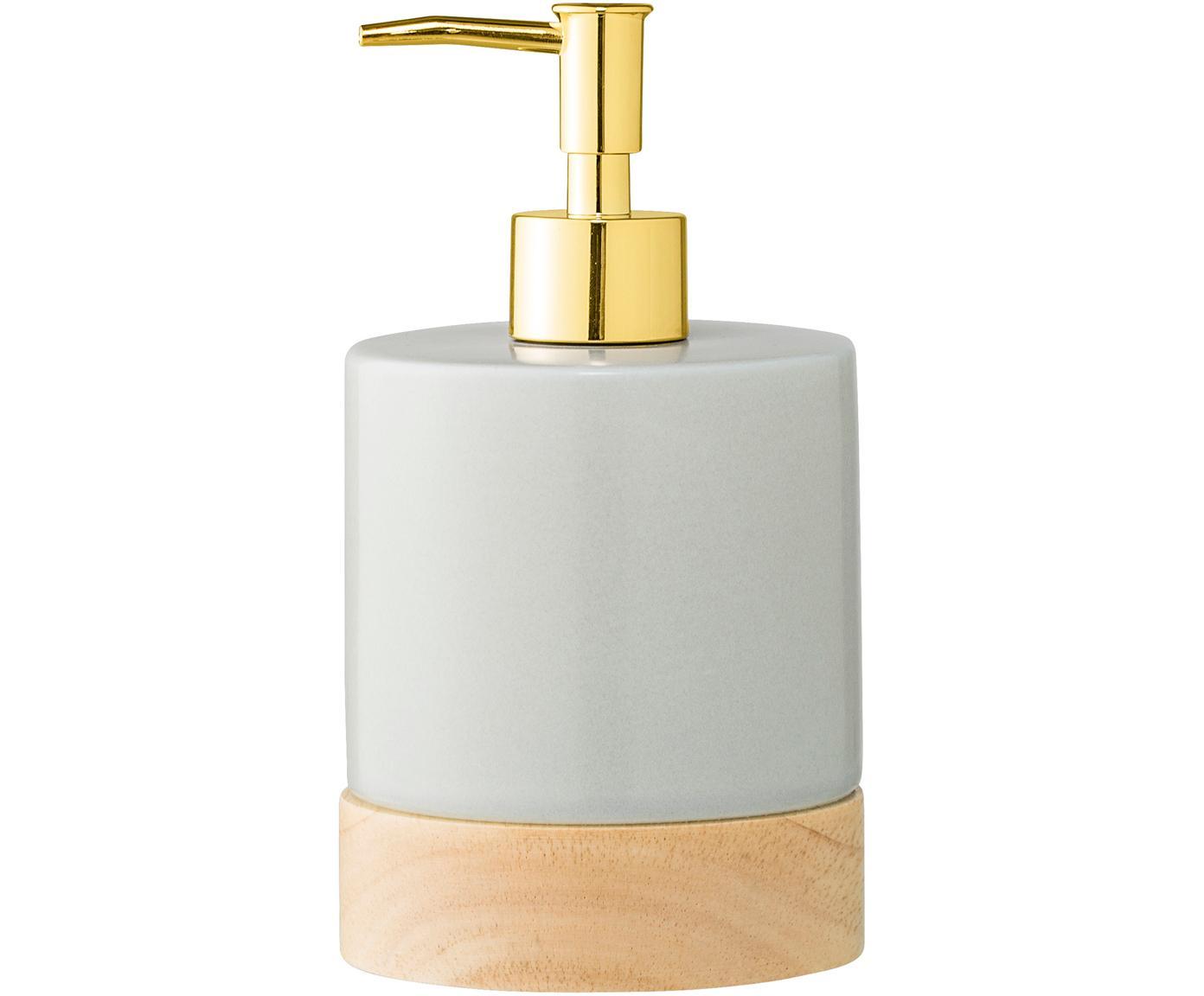 Dispenser sapone in porcellana Adam, Porcellana, legno di caucciù, metallo, Grigio, legno, ottonato, Ø 10 x Alt. 18 cm
