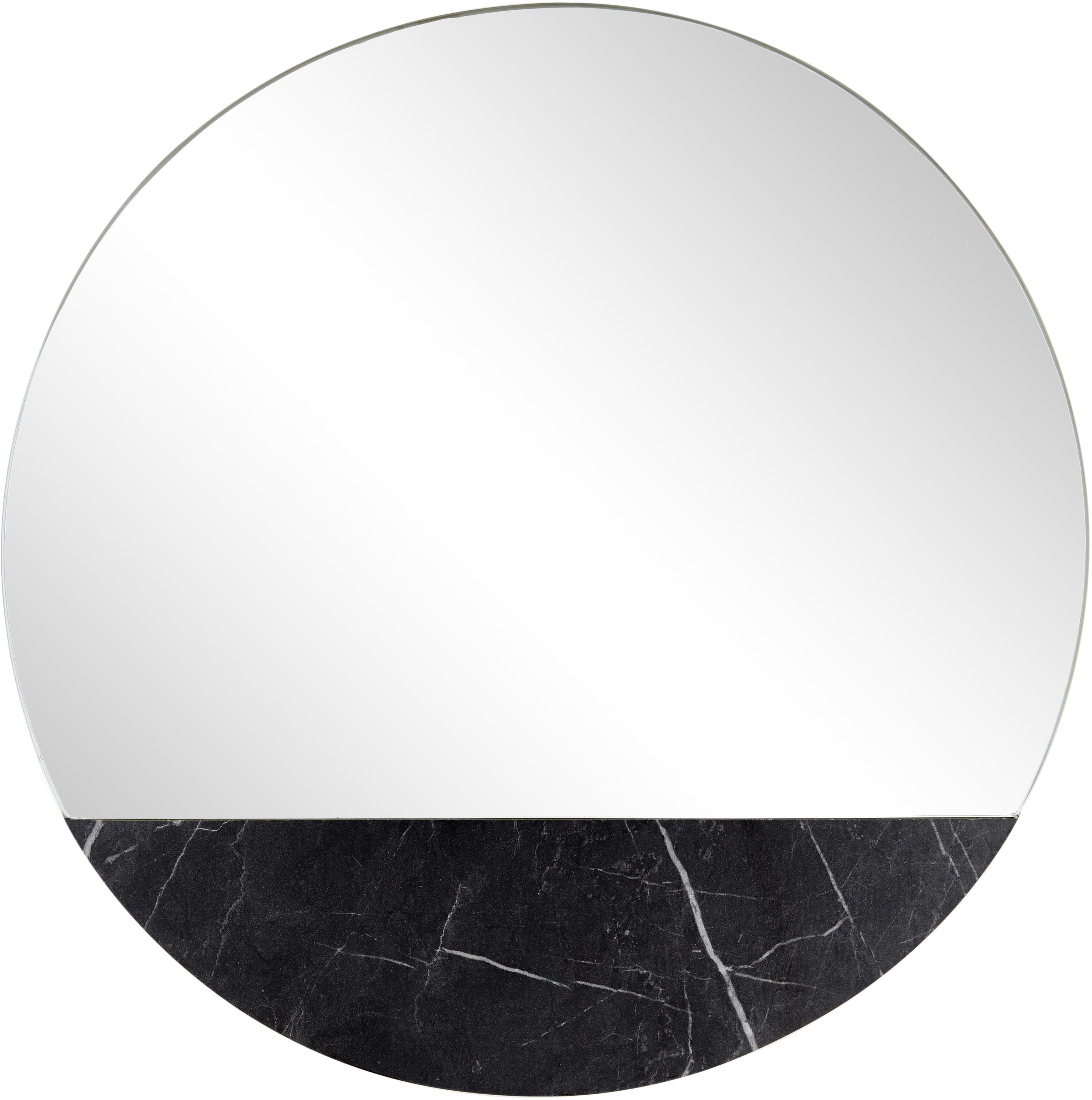 Specchio da parete effetto marmo Stockholm, Cornice: melamina, Superficie dello specchio: lastra di vetro, Retro: pannello di fibra a media, Nero marmorizzato, Ø 40 cm