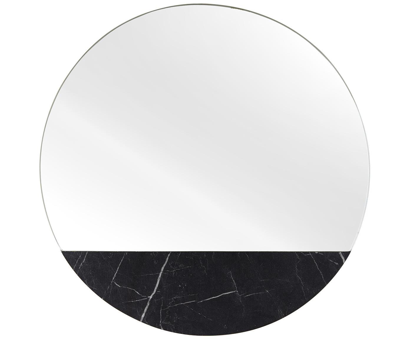 Okrągłe lustro ścienne z imitacji marmuru Stockholm, Czarny wzór marmurowy, Ø 40 cm