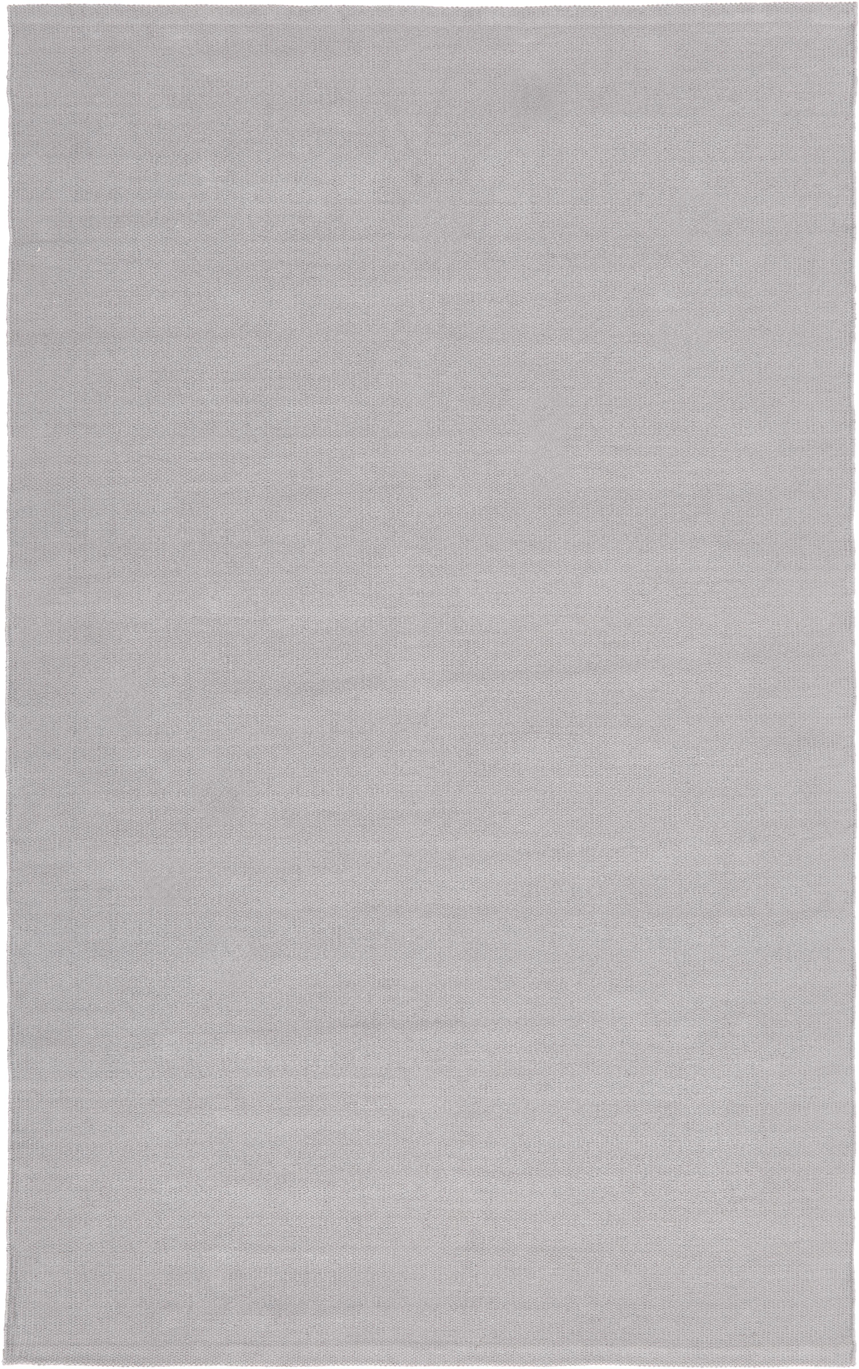 Handgeweven katoenen vloerkleed Agneta, Katoen, Grijs, B 50 x L 80 cm (maat XXS)