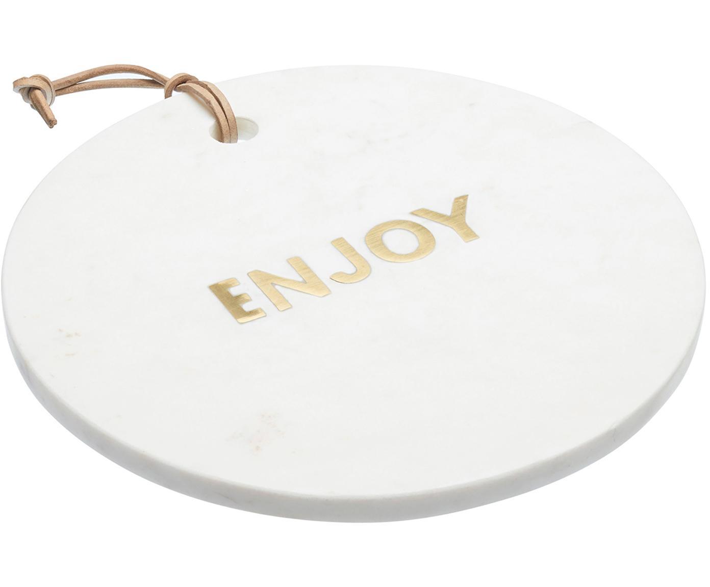 Marmeren serveerplank Artesa, Marmer, Wit, goudkleurig, Ø 26 cm