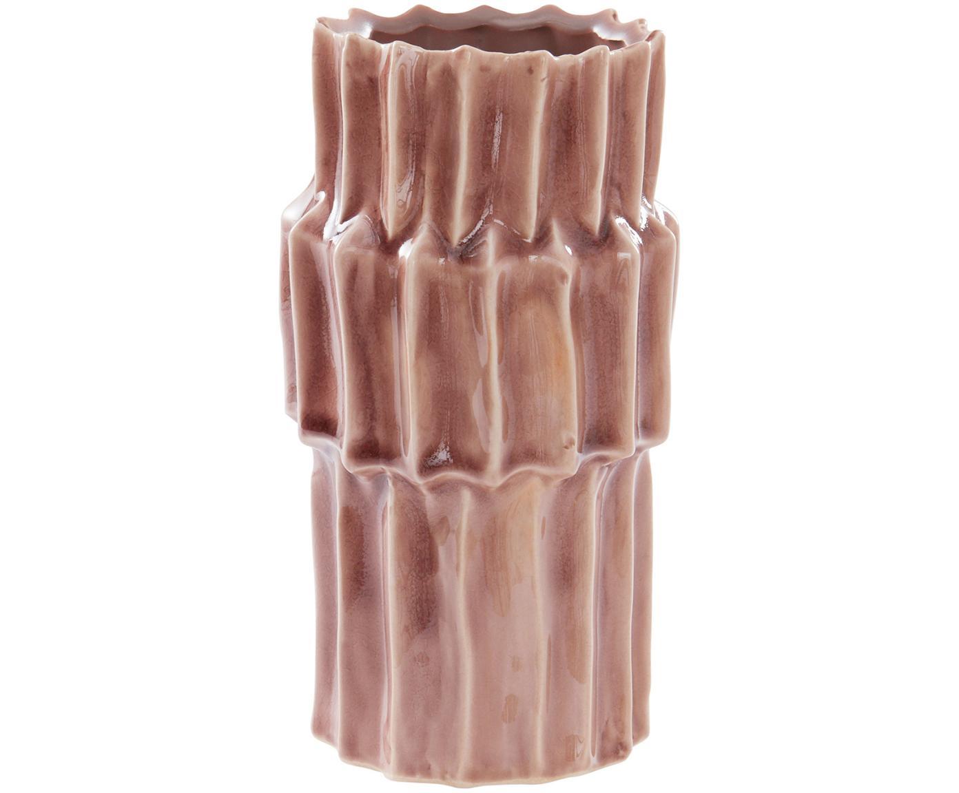 Ręcznie wykonany wazon z ceramiki Rosalina, Ceramika glazurowana, Blady różowy, Ø 12 x W 21 cm