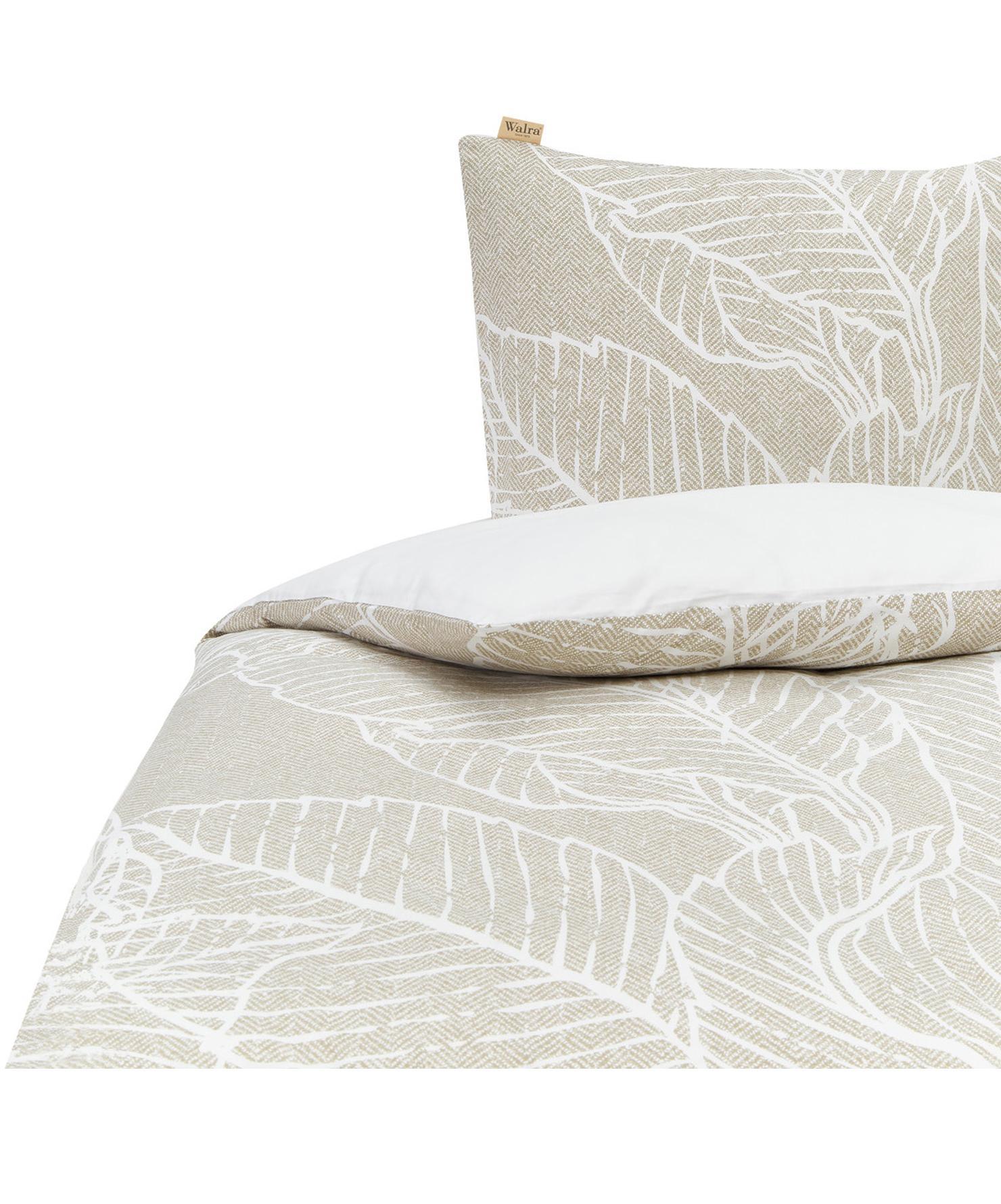 Dubbelzijdige renforcé dekbedovertrek Leaves & Trees, Weeftechniek: renforcé, Olijfgroen, wit, 140 x 220 cm