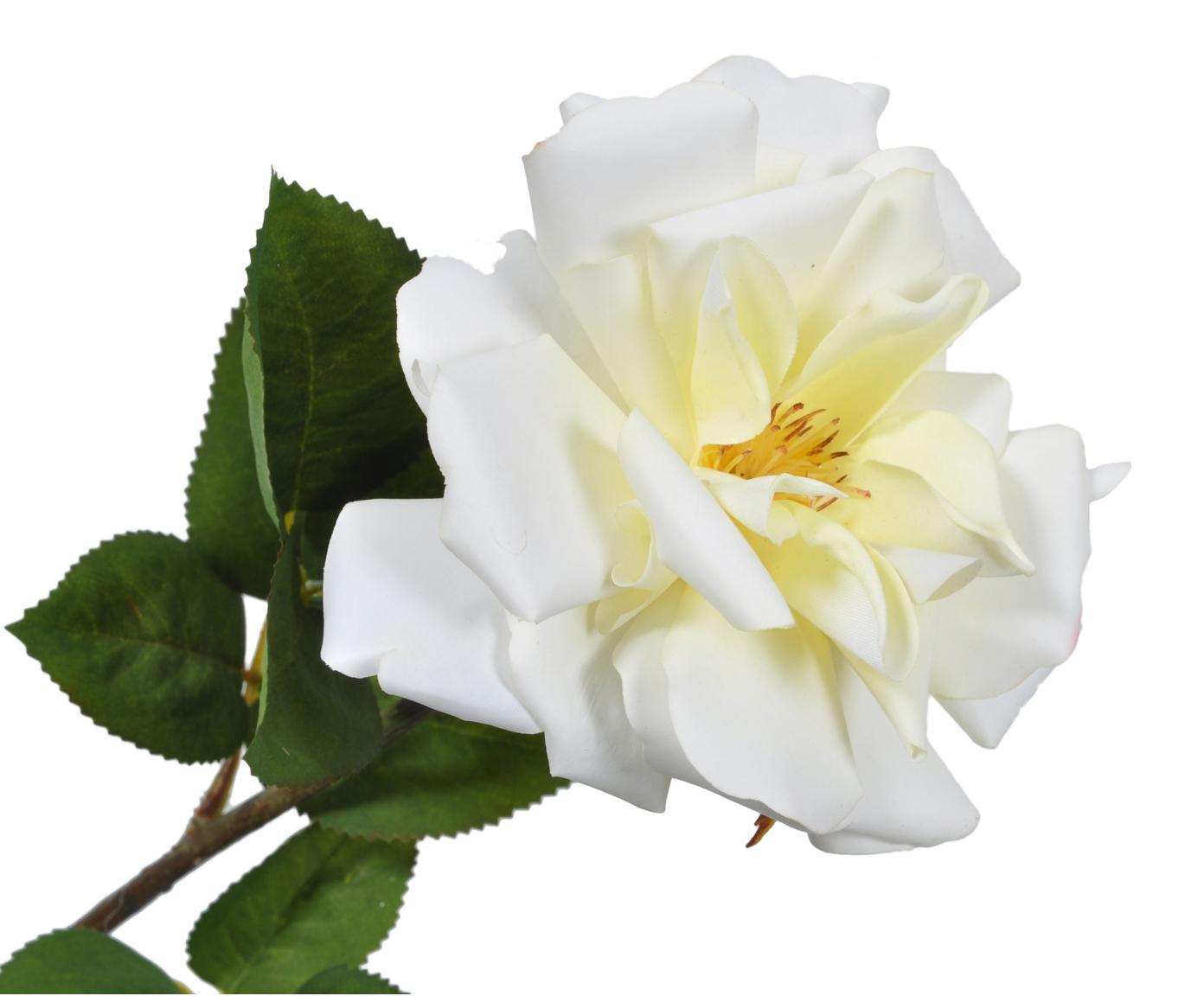 Kunstbloem Rose Alina, Bloem: kunststof, Steel: metaal, Wit, geel, L 54 cm