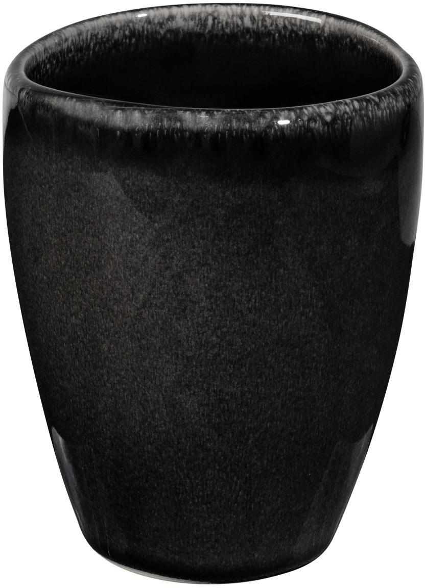 Ręcznie wykonany kubek z kamionki Nordic Coal, 6 szt., Kamionka, Brązowy, Ø 8 x 10 cm