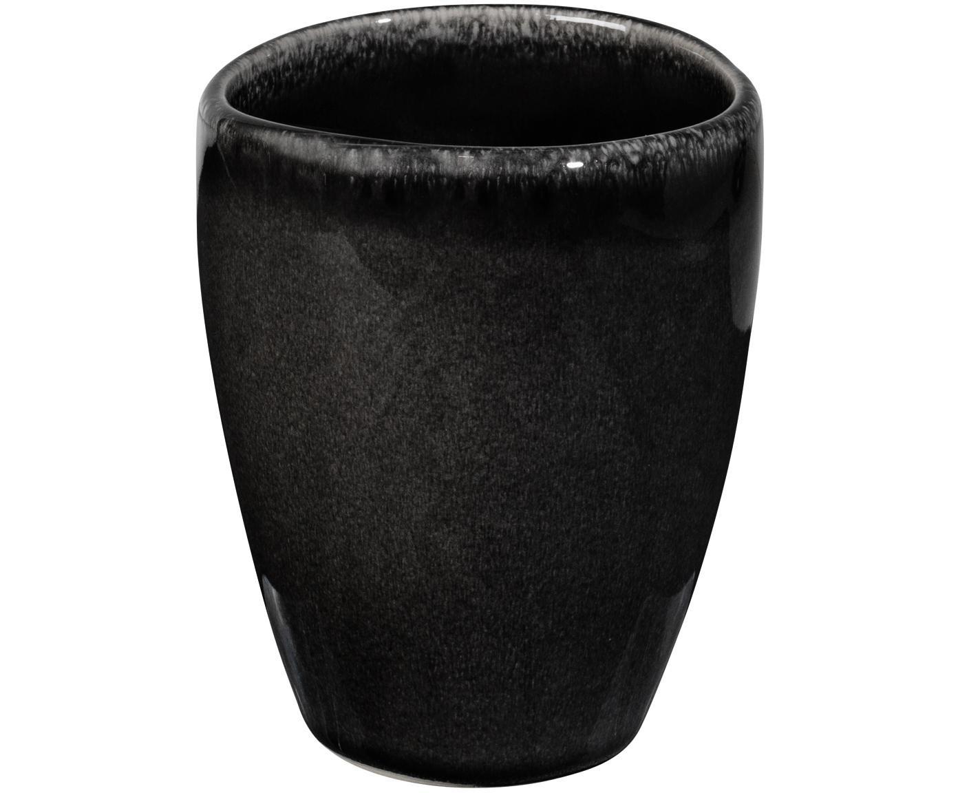 Ręcznie wykonany kubek Nordic Coal, 6 szt., Kamionka, Brązowy, Ø 8 x 10 cm