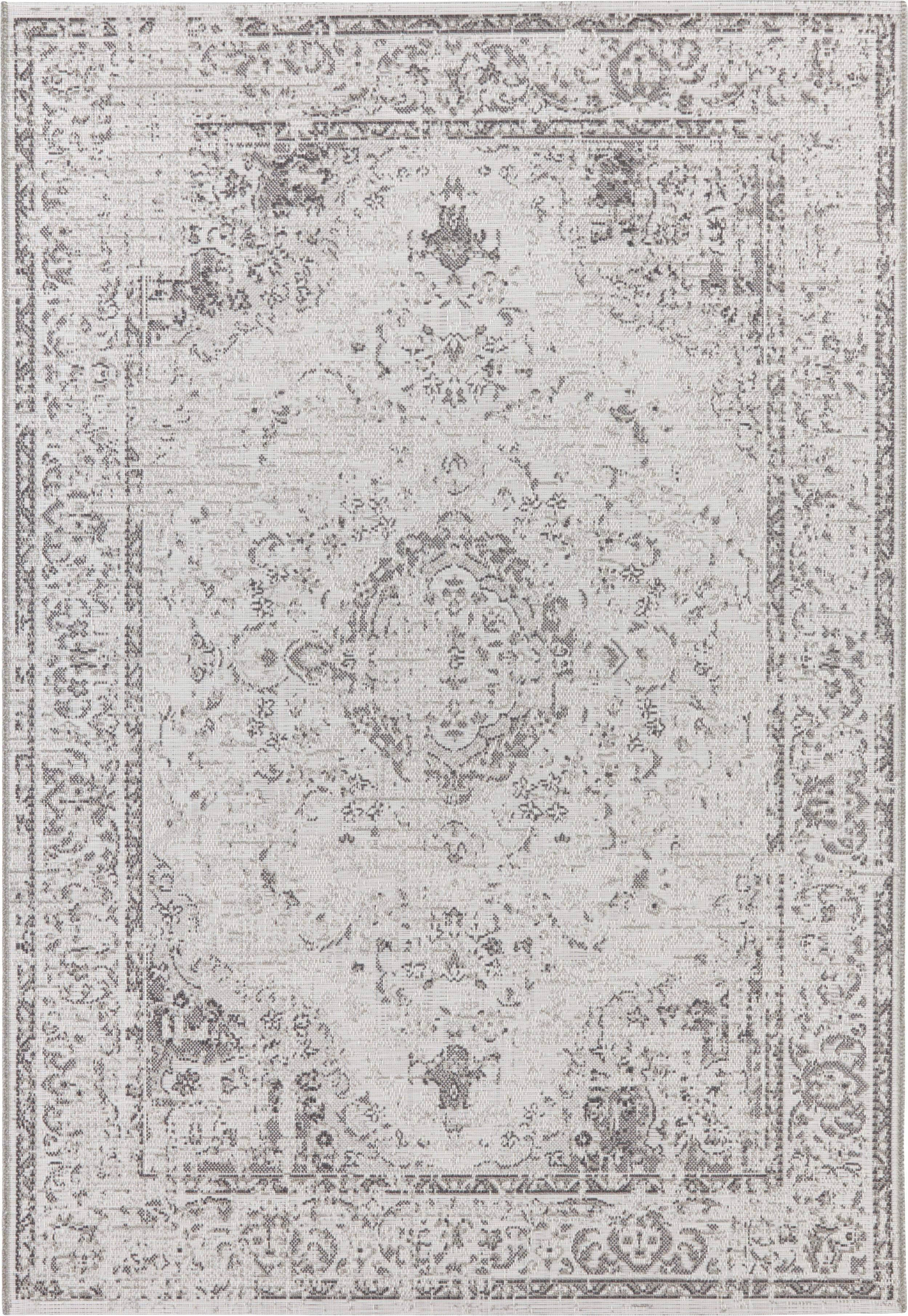 In- en outdoor vloerkleed Cenon in vintage stijl, Polypropyleen, Crèmekleurig, grijs, B 80 x L 150 cm (maat XS)