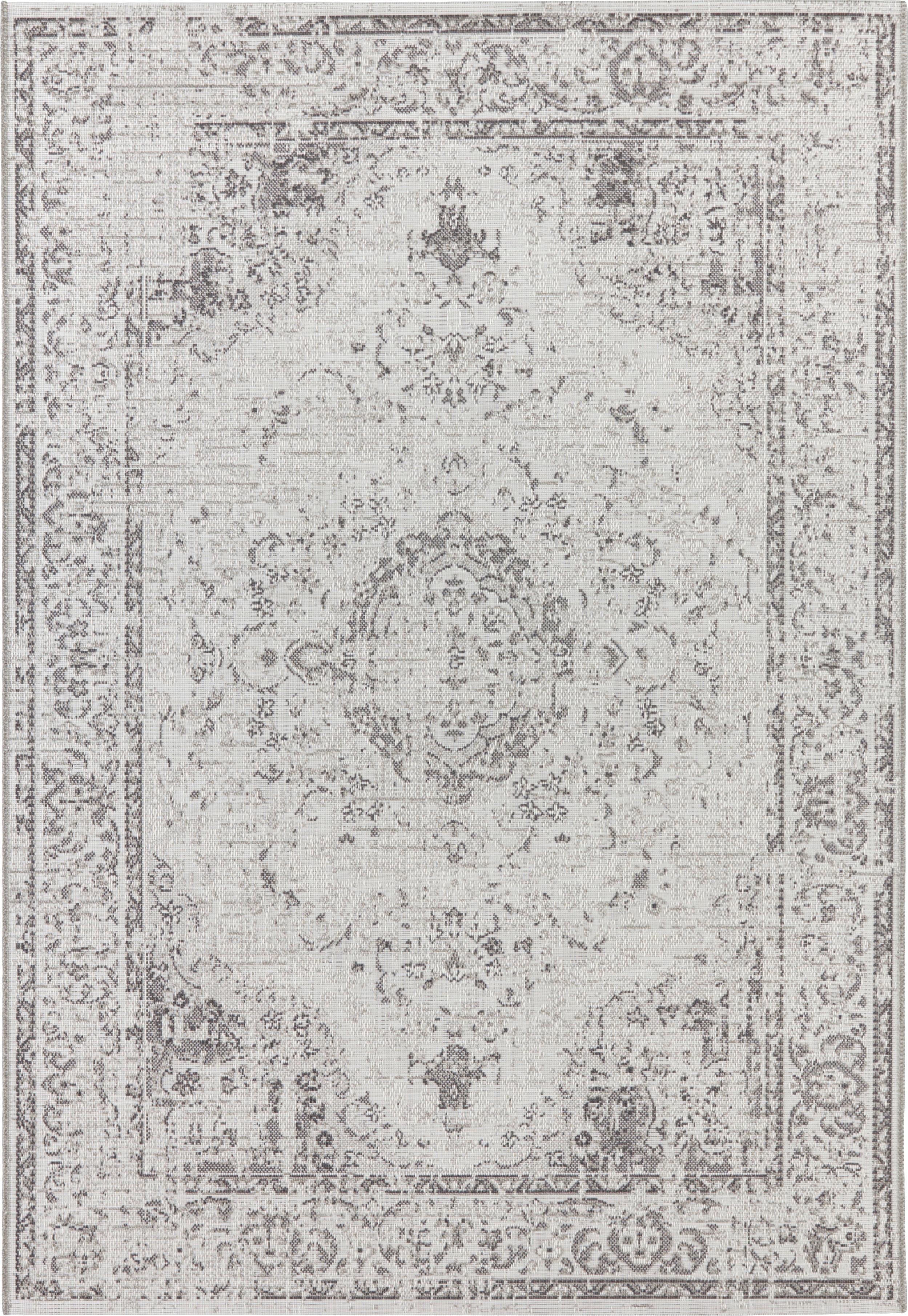 In- und Outdoor Teppich Cenon im Vintage Style, 100% Polypropylen, Creme, Grau, B 80 x L 150 cm (Größe XS)