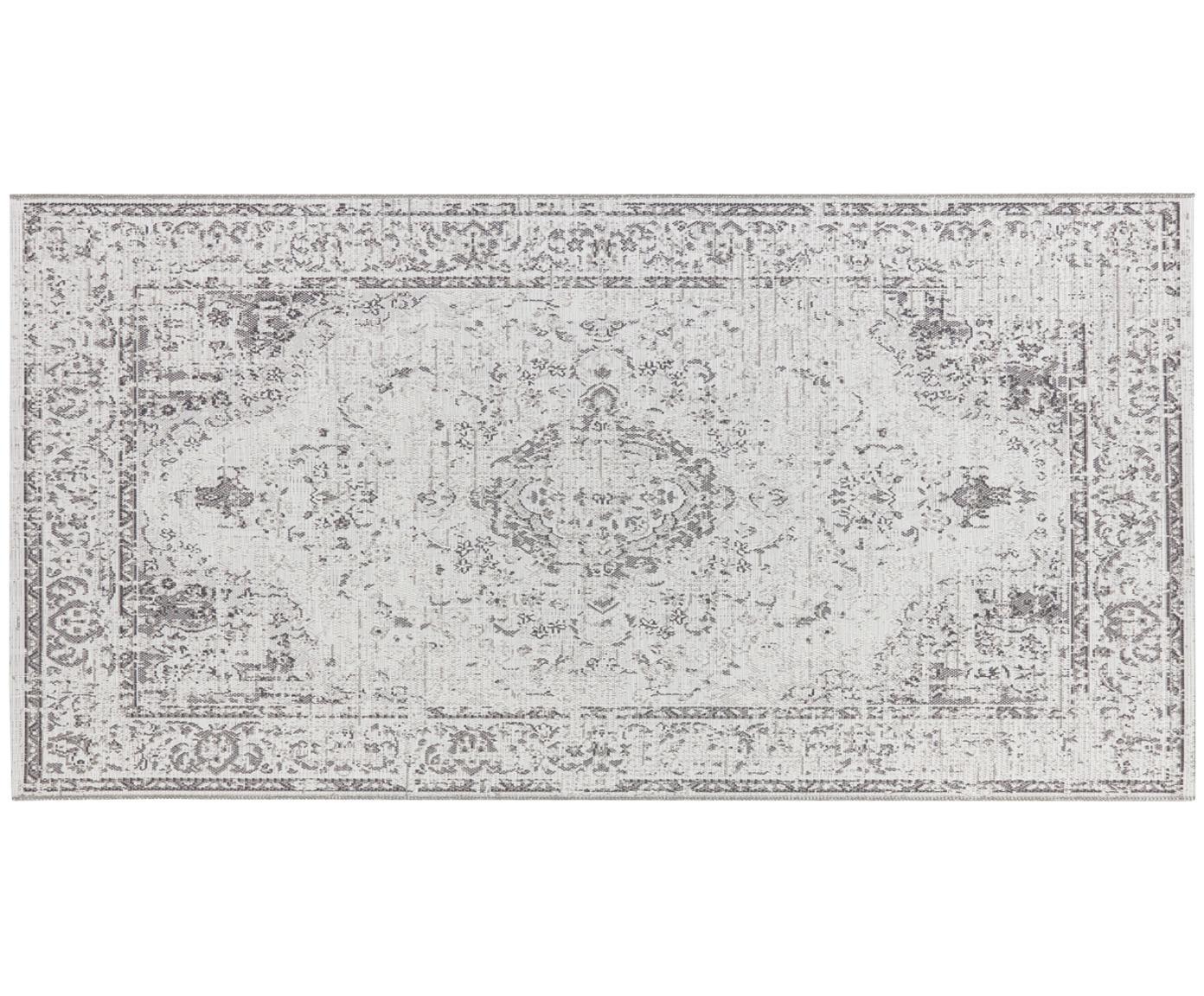 In- und Outdoor Teppich Cenon im Vintage Style, 100% Polypropylen, Creme, Grau, B 80 x L 150 cm (Grösse XS)